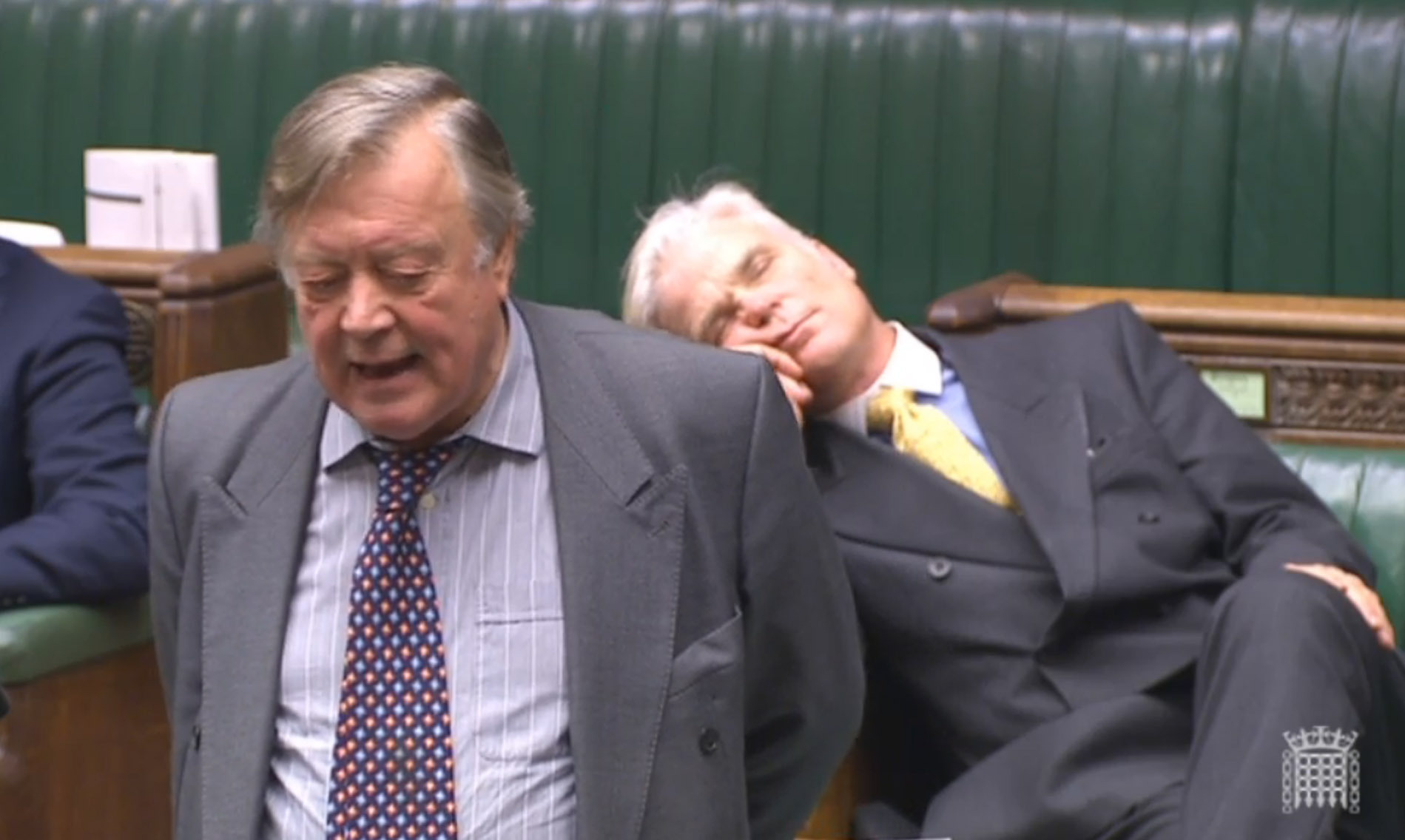 Sir Desmond Swayne MP appearing to sleep as he sits behind former Chancellor Ken Clarke during a House of Commons debate on Brexit.
