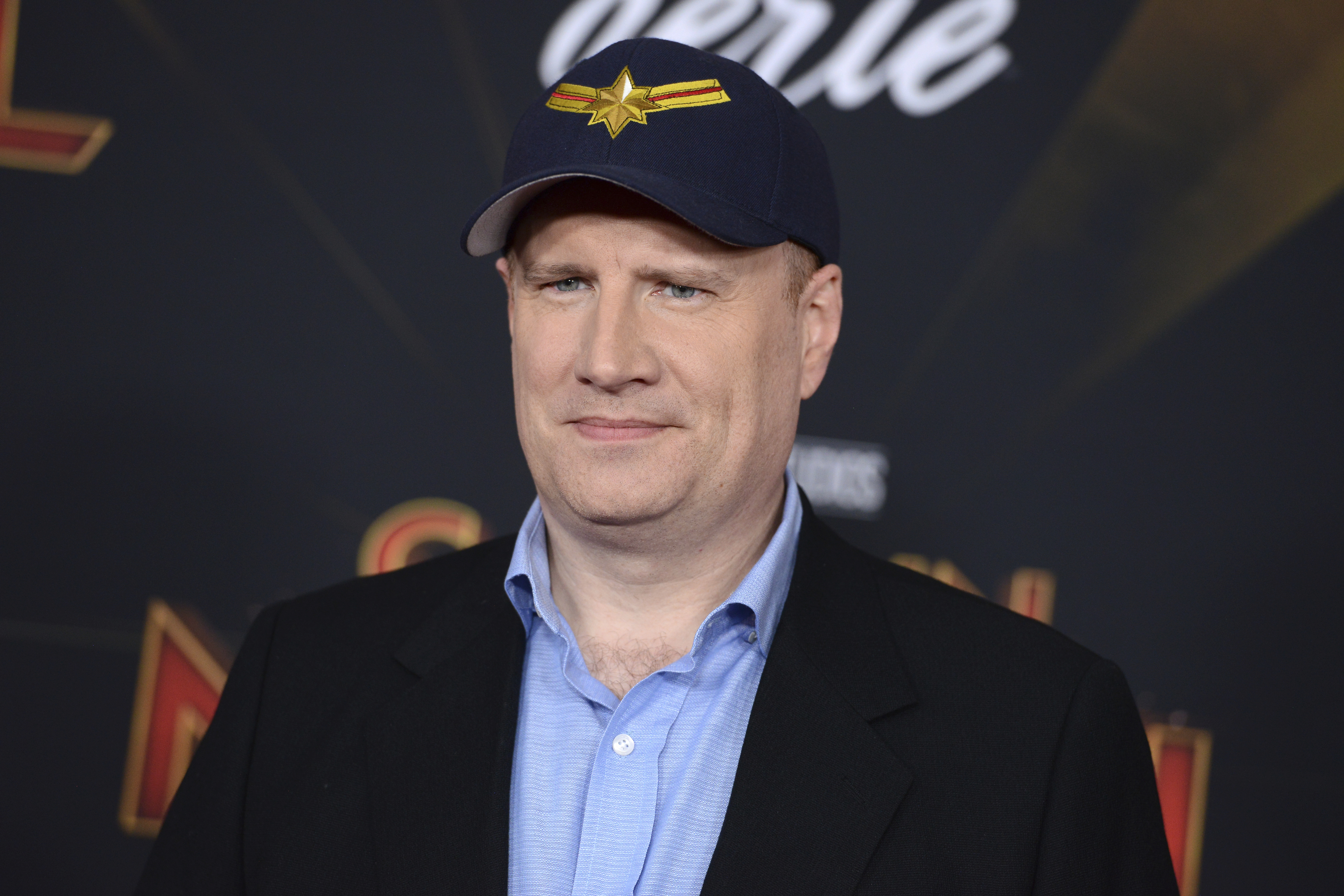 """Kevin Feige arrives at the world premiere of """"Captain Marvel"""" on Monday, March 4, 2019, at the El Capitan Theatre in Los Angeles. (Photo by Jordan Strauss/Invision/AP)"""