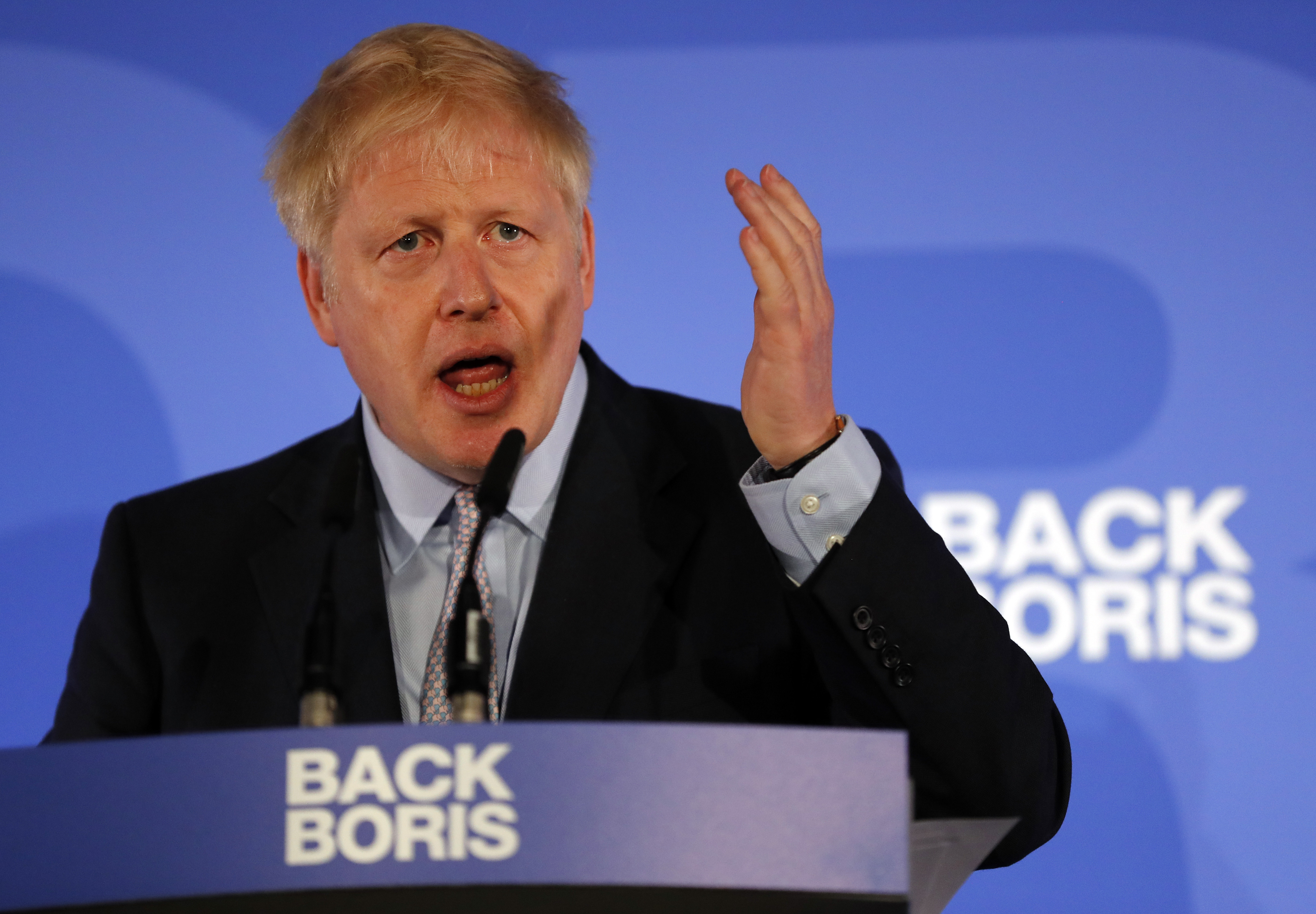 Britain's Conservative Party lawmaker Boris Johnson gestures as he speaks during the official launch of his leadership campaign, in London, Wednesday June 12, 2019. Boris Johnson solidified his front-runner status in the race to become Britain's next prime minister on Tuesday, gaining backing from leading pro-Brexit lawmakers.(AP Photo/Frank Augstein)