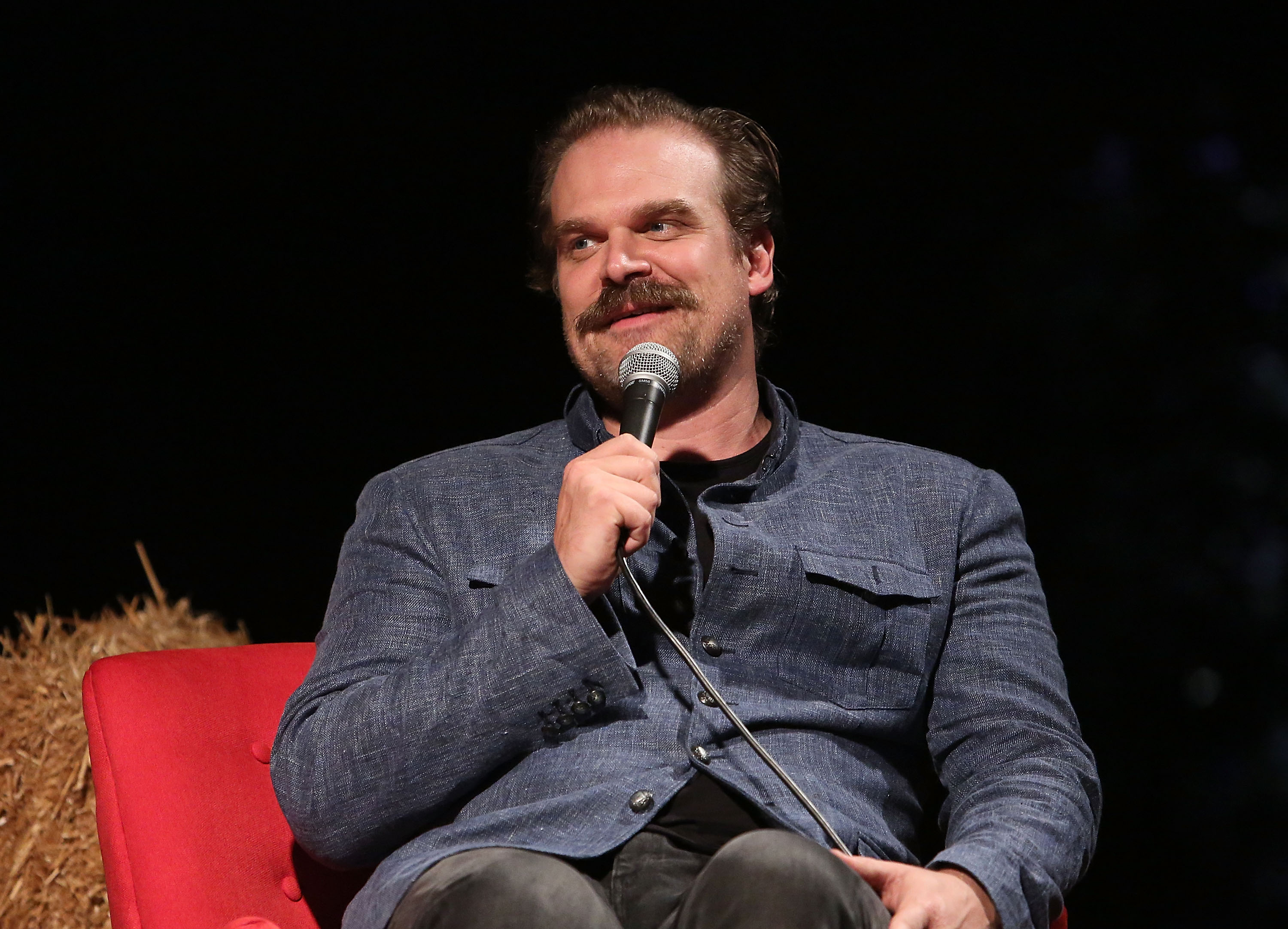 """HOLLYWOOD, CA - AUGUST 17: David Harbour attends Netflix's """"Stranger Things"""" 12 Emmy nominations celebration at Hollywood Forever on August 17, 2018 in Hollywood, California. (Photo by Jesse Grant/WireImage)"""