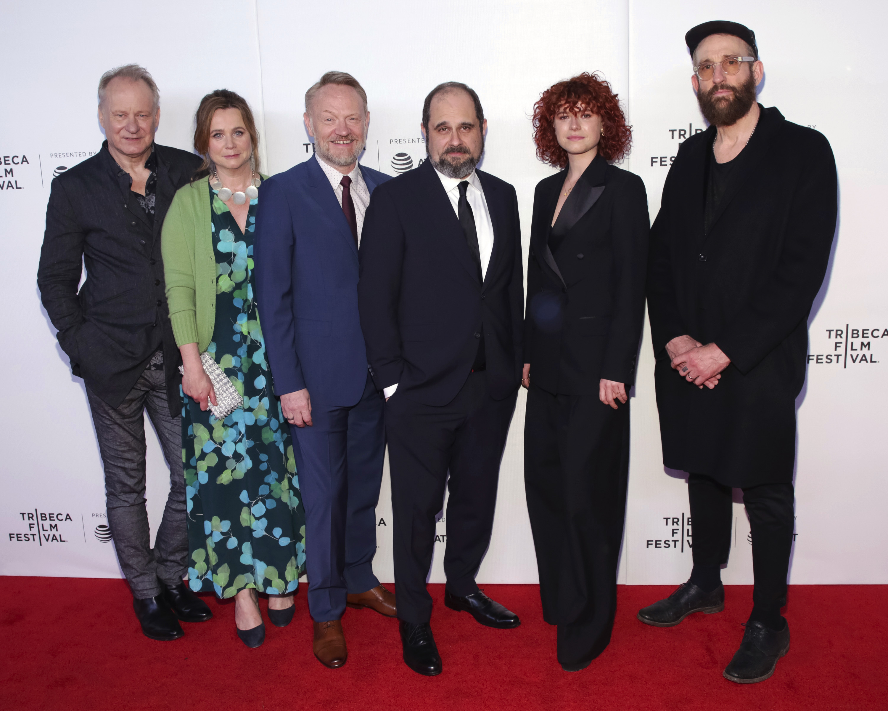 "Actors Stellan Skarsgard, from left, Emily Watson, Jared Harris, creator/writer Craig Mazin, actress Jessie Buckley and director/executive producer Johan Renck attend the screening for ""Tribeca TV : Chernobyl"" during the 2019 Tribeca Film Festival at Spring Studios on Friday, April 26, 2019, in New York. (Photo by Brent N. Clarke/Invision/AP)"