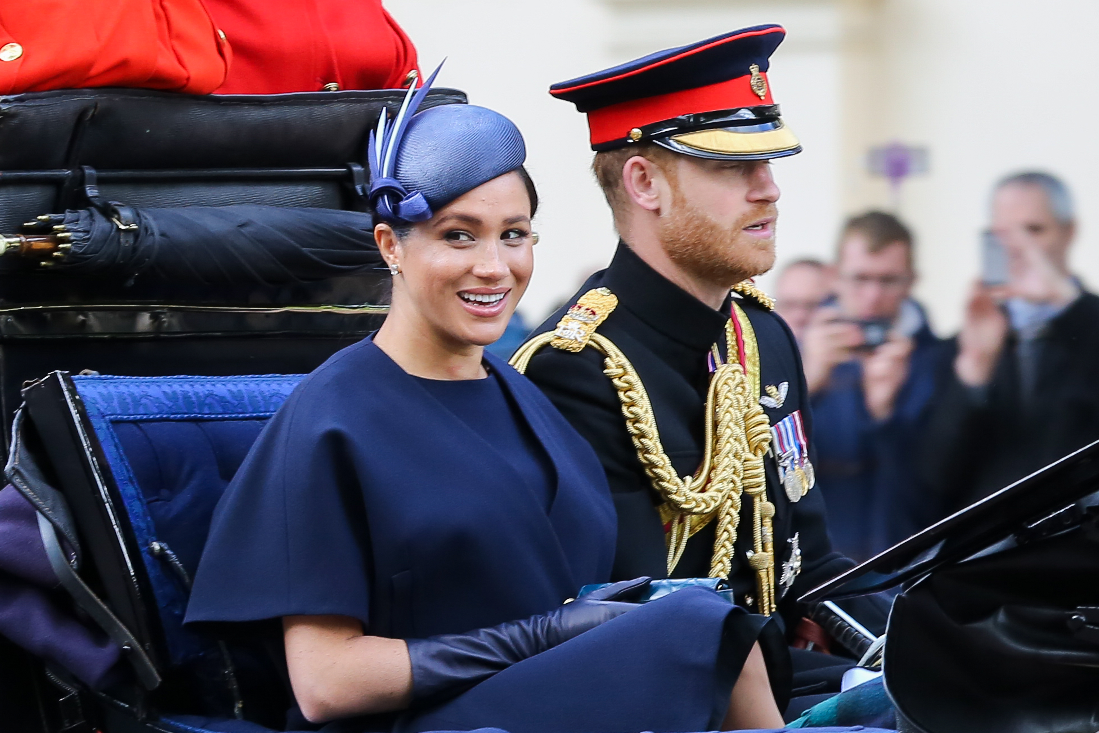 LONDON, UNITED KINGDOM - 2019/06/08: Meghan Duchess of Sussex and Prince Harry are seen in a carriage on their way to Buckingham Palace after attending the Trooping the Colour ceremony, which marks the 93rd birthday of, Queen Elizabeth II, Britain's longest reigning monarch. (Photo by Dinendra Haria/SOPA Images/LightRocket via Getty Images)