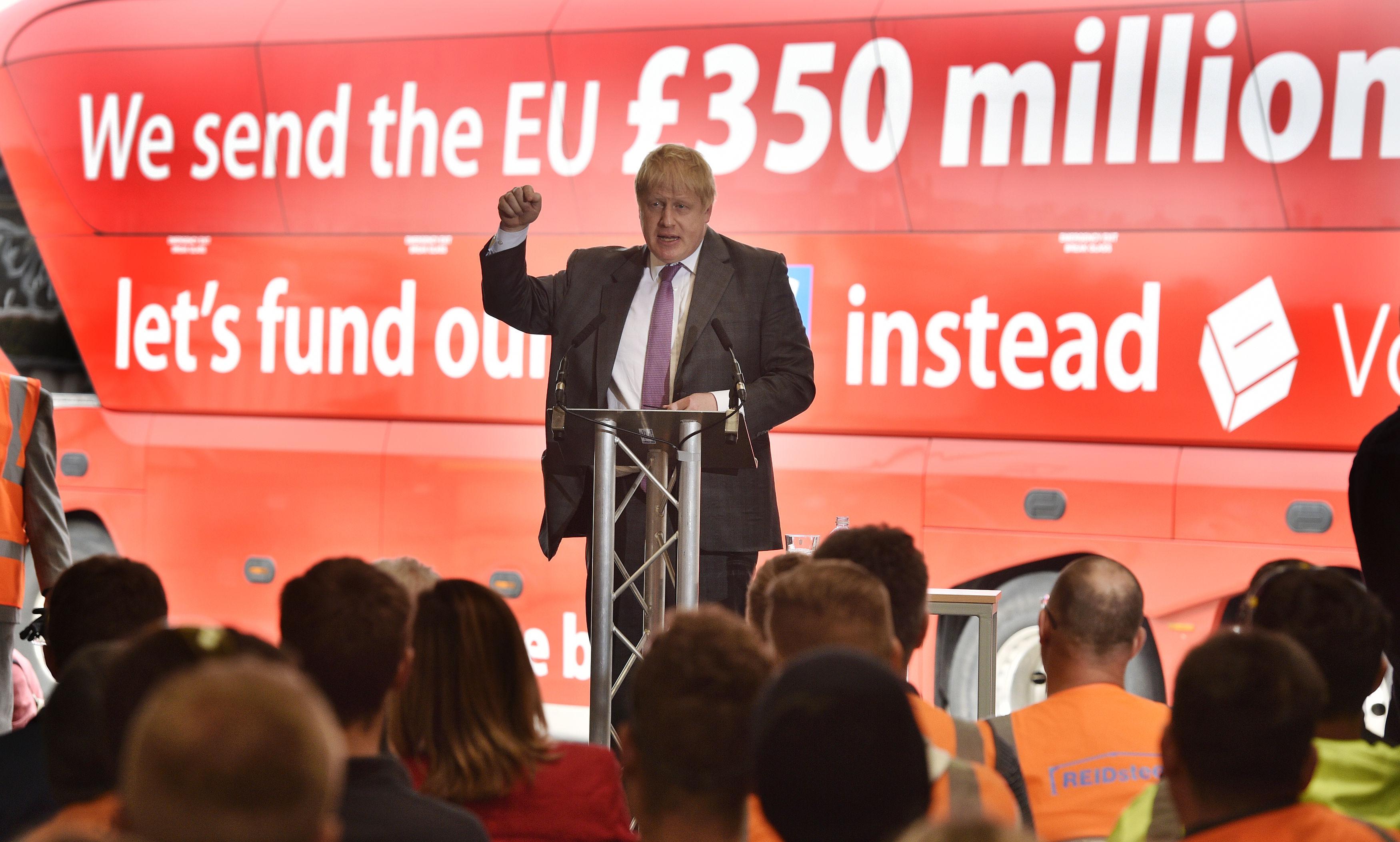Former Mayor of London Boris Johnson speaks to employees during a visit to Reid Steel, Christchurch, Dorset, ahead of the June 23 referendum.