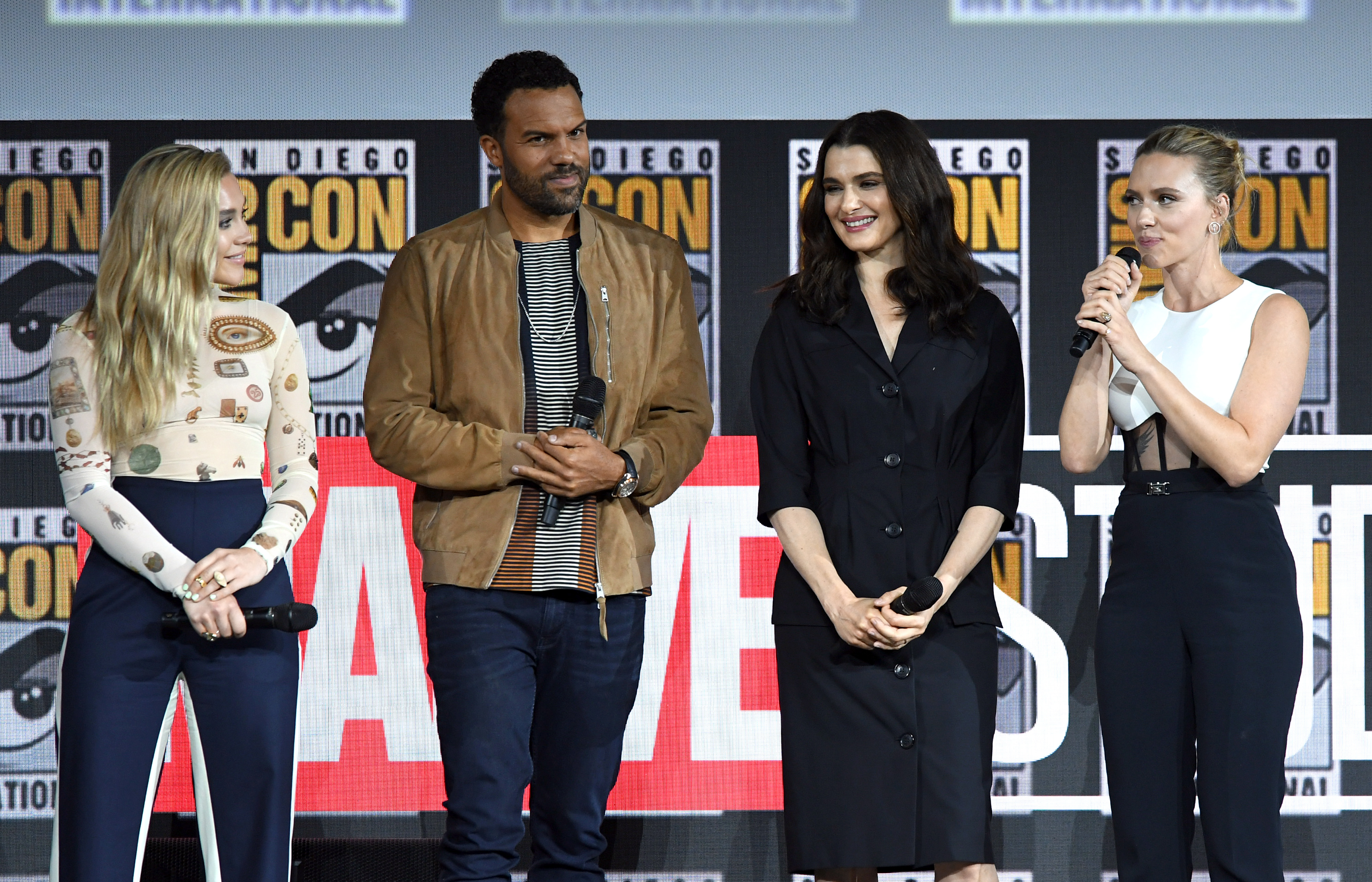 SAN DIEGO, CALIFORNIA - JULY 20: (L-R) Florence Pugh, O. T. Fagbenle, Rachel Weisz and Scarlett Johanssonn speak at the Marvel Studios Panel during 2019 Comic-Con International at San Diego Convention Center on July 20, 2019 in San Diego, California. (Photo by Kevin Winter/Getty Images)