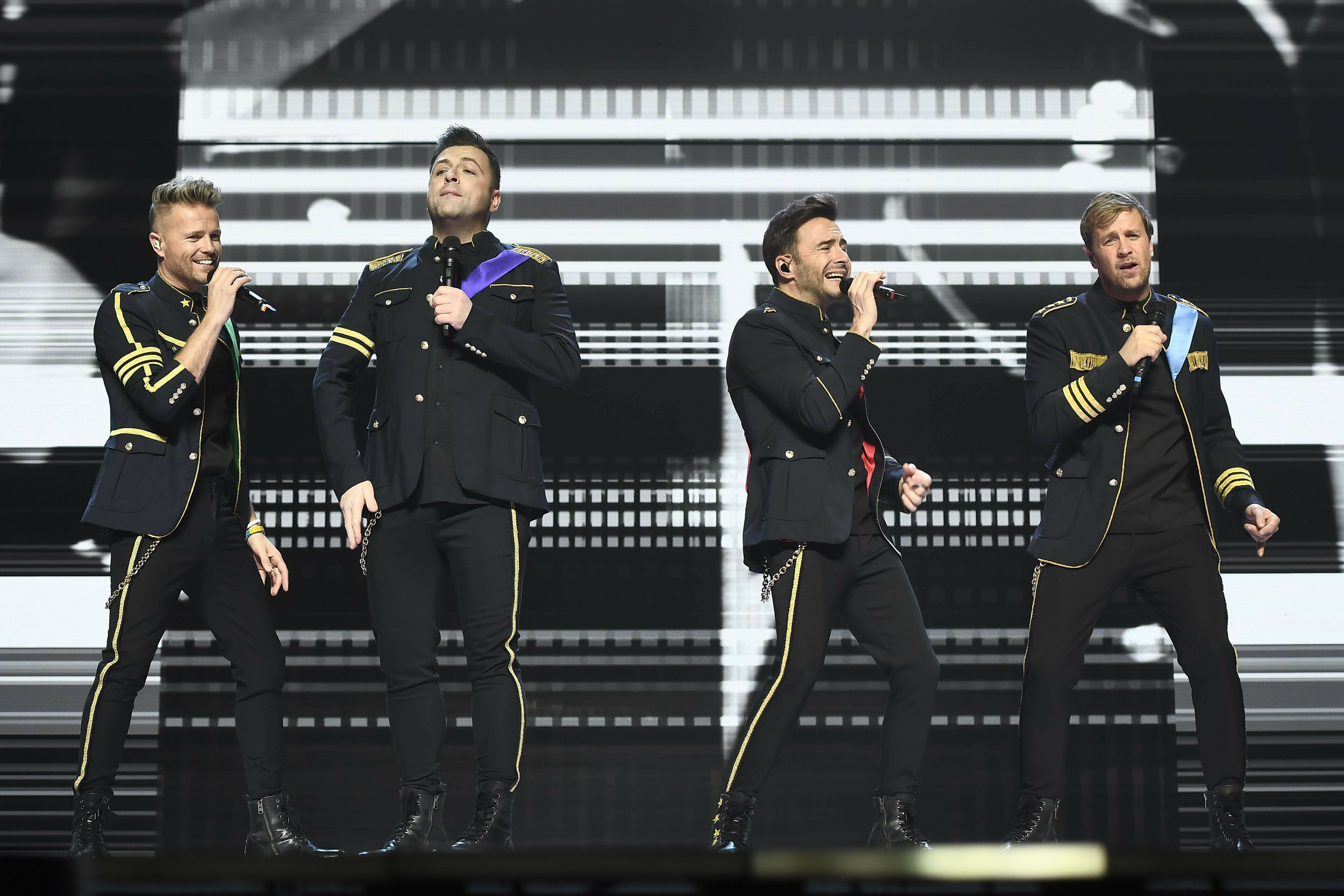 Photo by: KGC-138/STAR MAX/IPx 2019 6/23/19 Nicky Byrne, Mark Feehily, Shane Filan and Kian Egan of 'Westlife' performing at Birmingham Arena.