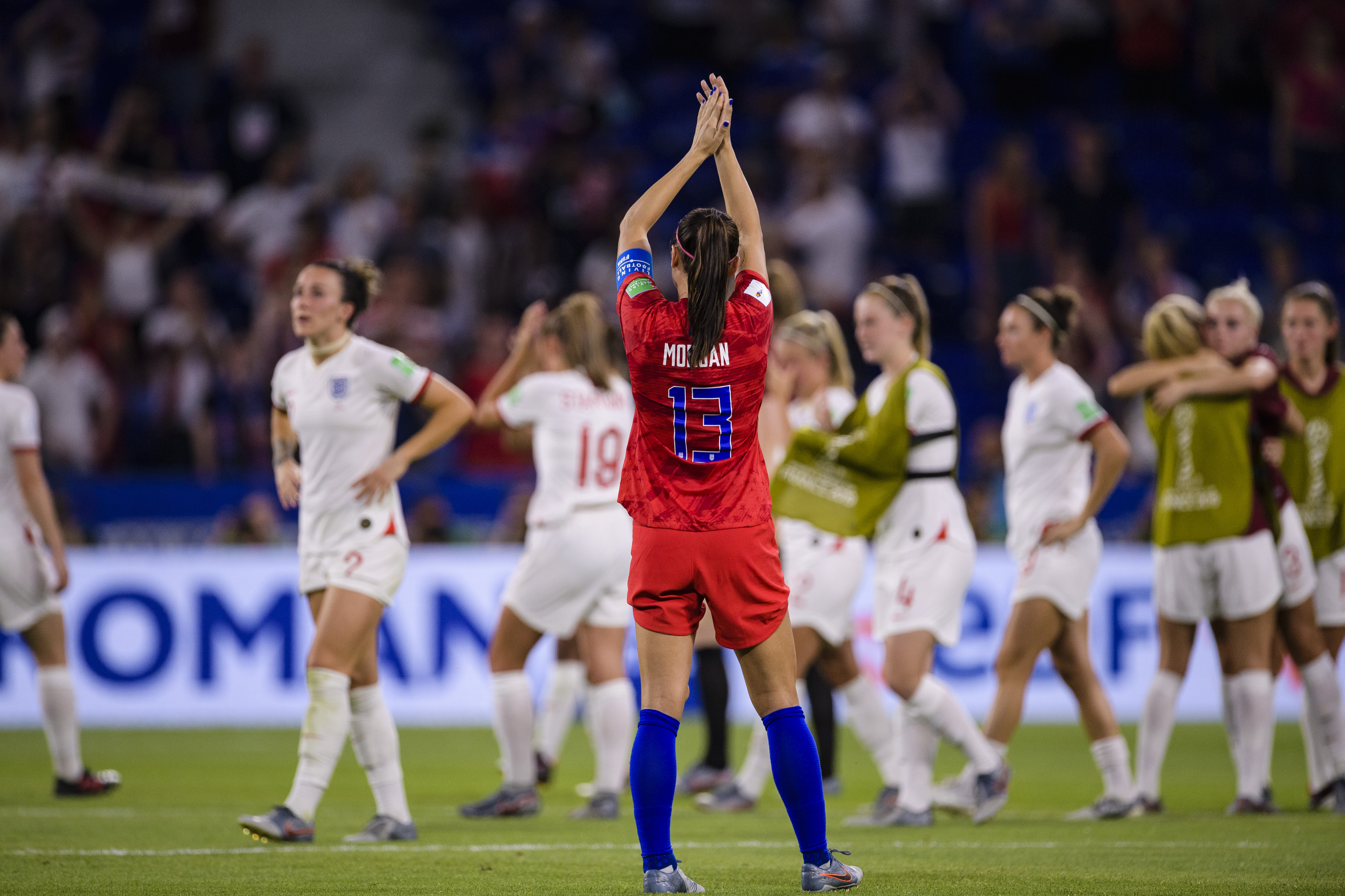 LYON, FRANCE - JULY 02: Alex Morgan of United States celebrates after winning England  during the 2019 FIFA Women's World Cup France Semi Final match between England and USA at Stade de Lyon on July 2, 2019 in Lyon, France. (Photo by Marcio Machado/Getty Images)
