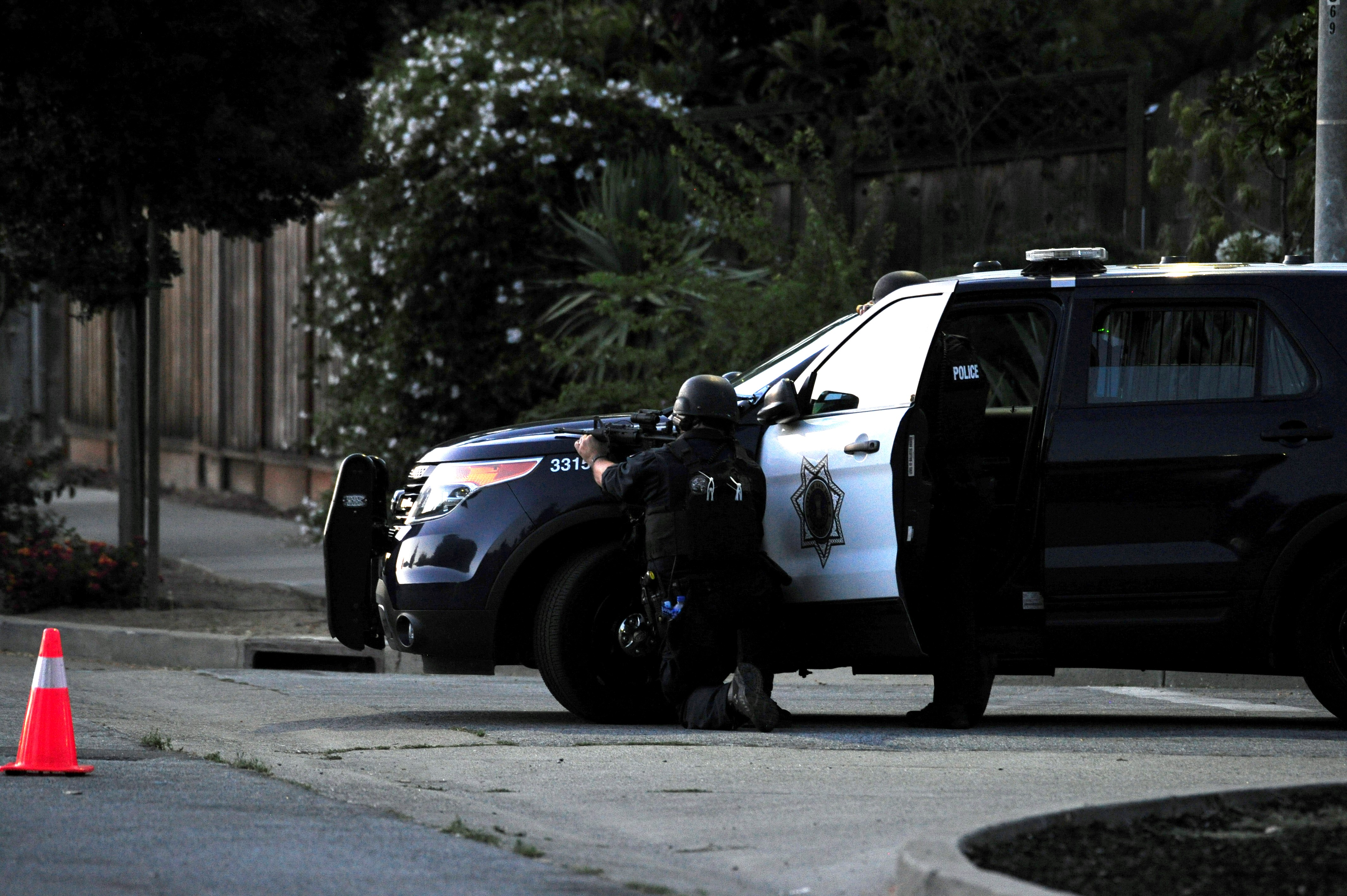 CALIFORNIA, USA - JULY 28 : Sniper takes aim on a house where police thought one of the shooters from mass shooting at the Gilroy Garlic festival might have been in Gilroy, California on July 28, 2019. At least three people were killed on Sunday in an ongoing shooting at a festival in northern California, according to a local official.   (Photo by Neal Waters/Anadolu Agency via Getty Images)