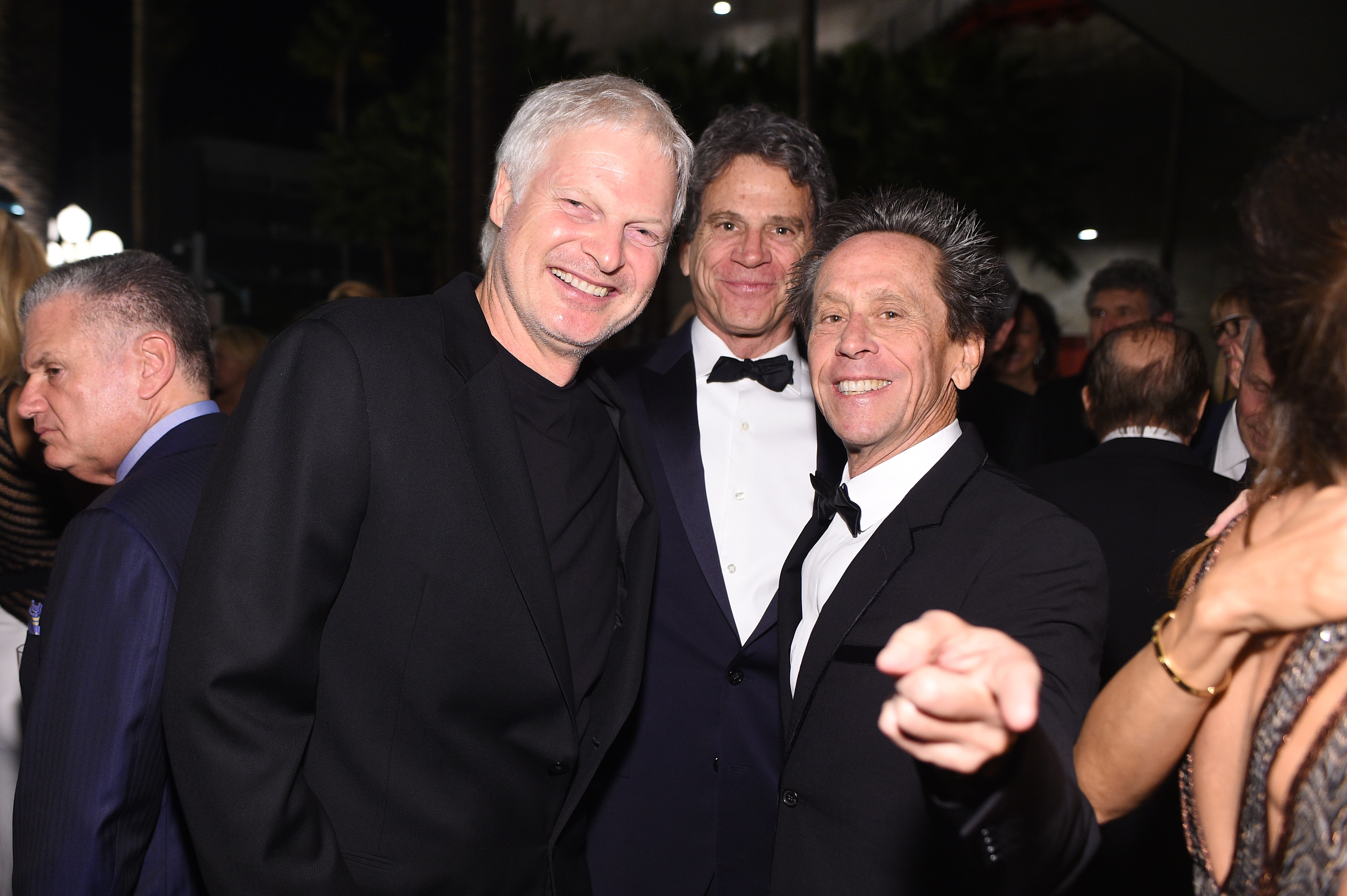 LOS ANGELES, CA - NOVEMBER 07:  (L-R) Producer Steve Bing, guest and LACMA Trustee Brian Grazer attend LACMA 2015 Art+Film Gala Honoring James Turrell and Alejandro G Iñárritu, Presented by Gucci at LACMA on November 7, 2015 in Los Angeles, California.  (Photo by Stefanie Keenan/Getty Images for LACMA)
