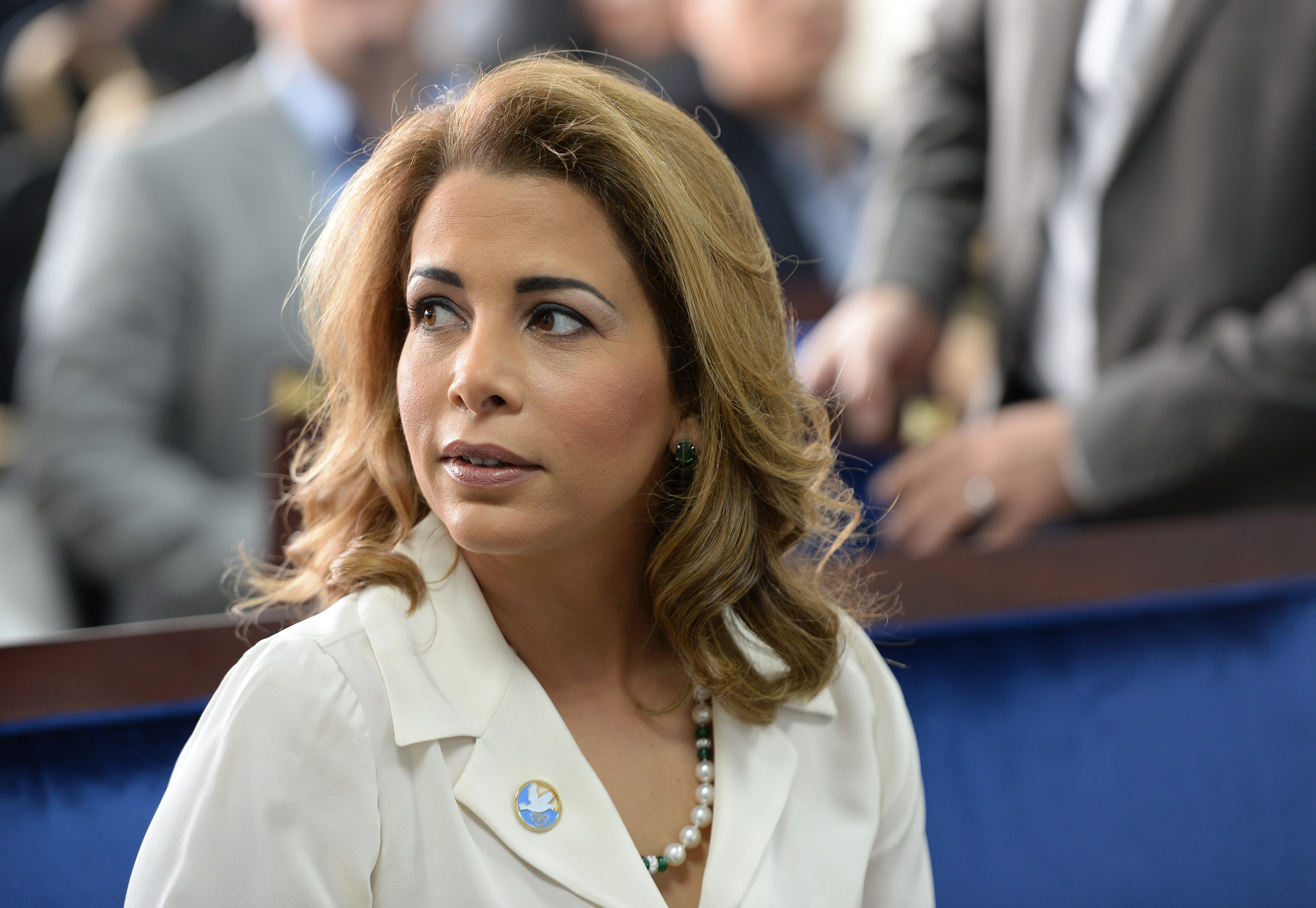 Princess Haya bint al-Hussein, the wife of the Prime Minister of the UAE and Ruler of Dubai, waits for United Nations Secretary-General Ban Ki-moon to arrive for a press conference ahead of the launch of the UN's report on humanitarian financing in Dubai, United Arab Emirates, Sunday, Jan 17, 2016. (AP Photo/Martin Dokoupil)