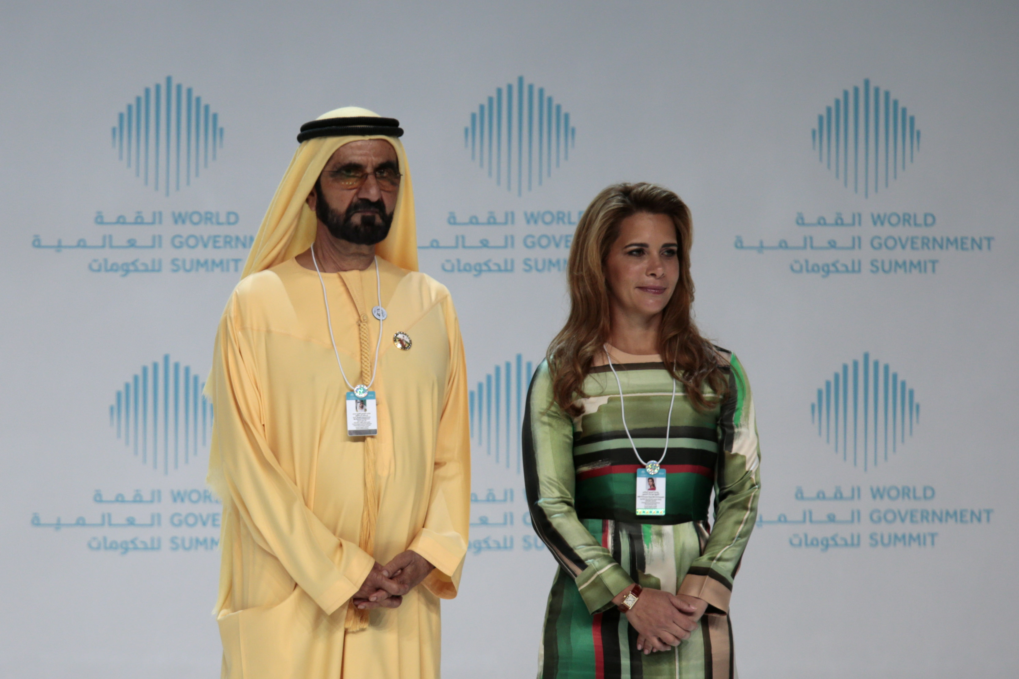 Prime Minister and Vice-President of the United Arab Emirates and ruler of Dubai Sheikh Mohammed bin Rashid al-Maktoum and his wife Princess Haya bint al-Hussein attend the World Government Summit in Dubai, United Arab Emirates February 11, 2018. REUTERS/Christopher Pike