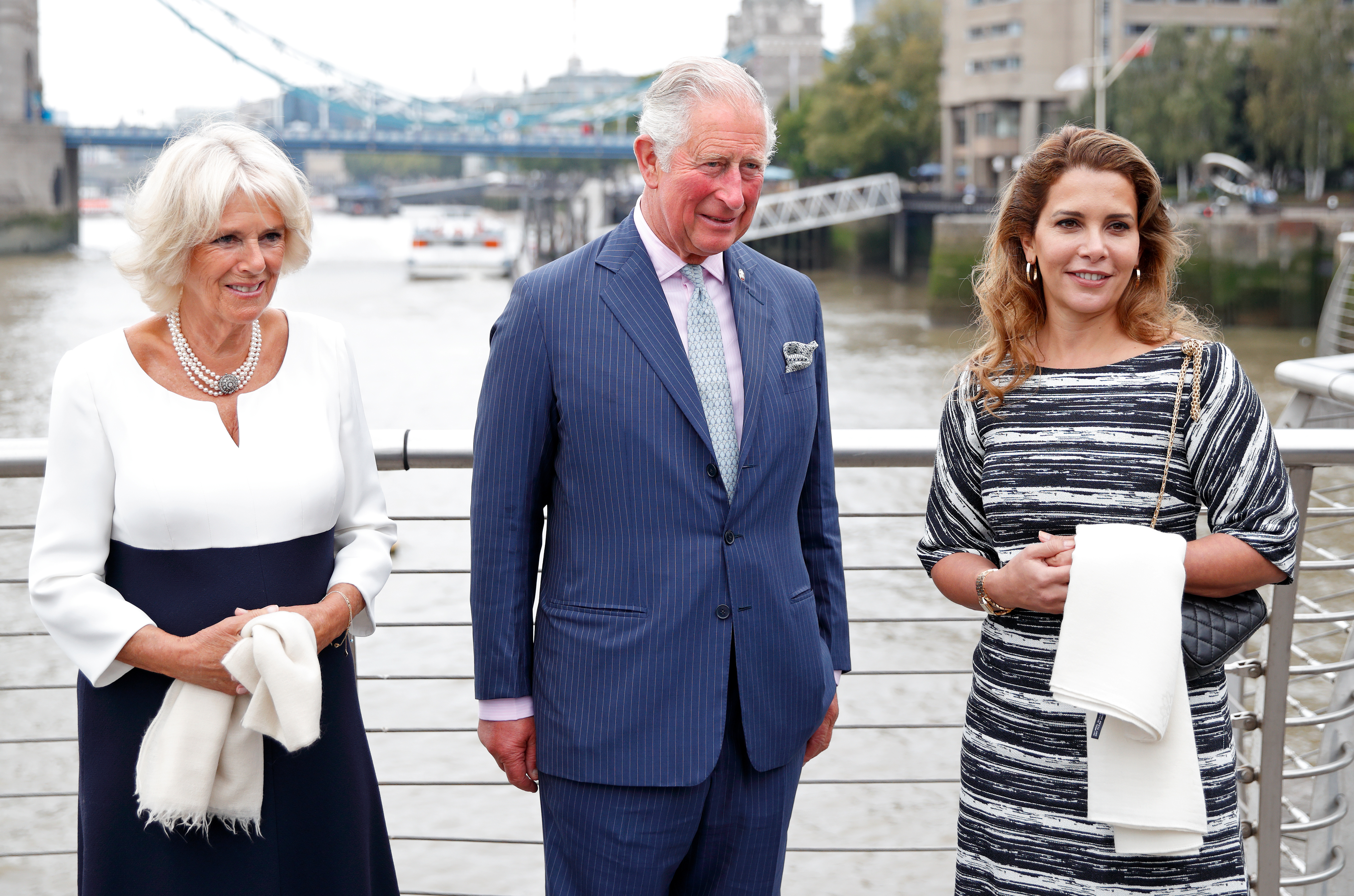 LONDON, UNITED KINGDOM - SEPTEMBER 05: (EMBARGOED FOR PUBLICATION IN UK NEWSPAPERS UNTIL 24 HOURS AFTER CREATE DATE AND TIME) Camilla, Duchess of Cornwall, Prince Charles, Prince of Wales and Princess Haya Bint Al Hussein visit the newly refurbished 'Maiden' Yacht at HMS President on September 5, 2018 in London, England. The 'Maiden' Yacht was used by the first all-female crew to sail in the 1990 Whitbread Round the World Race in which they finished second. (Photo by Max Mumby/Indigo/Getty Images)