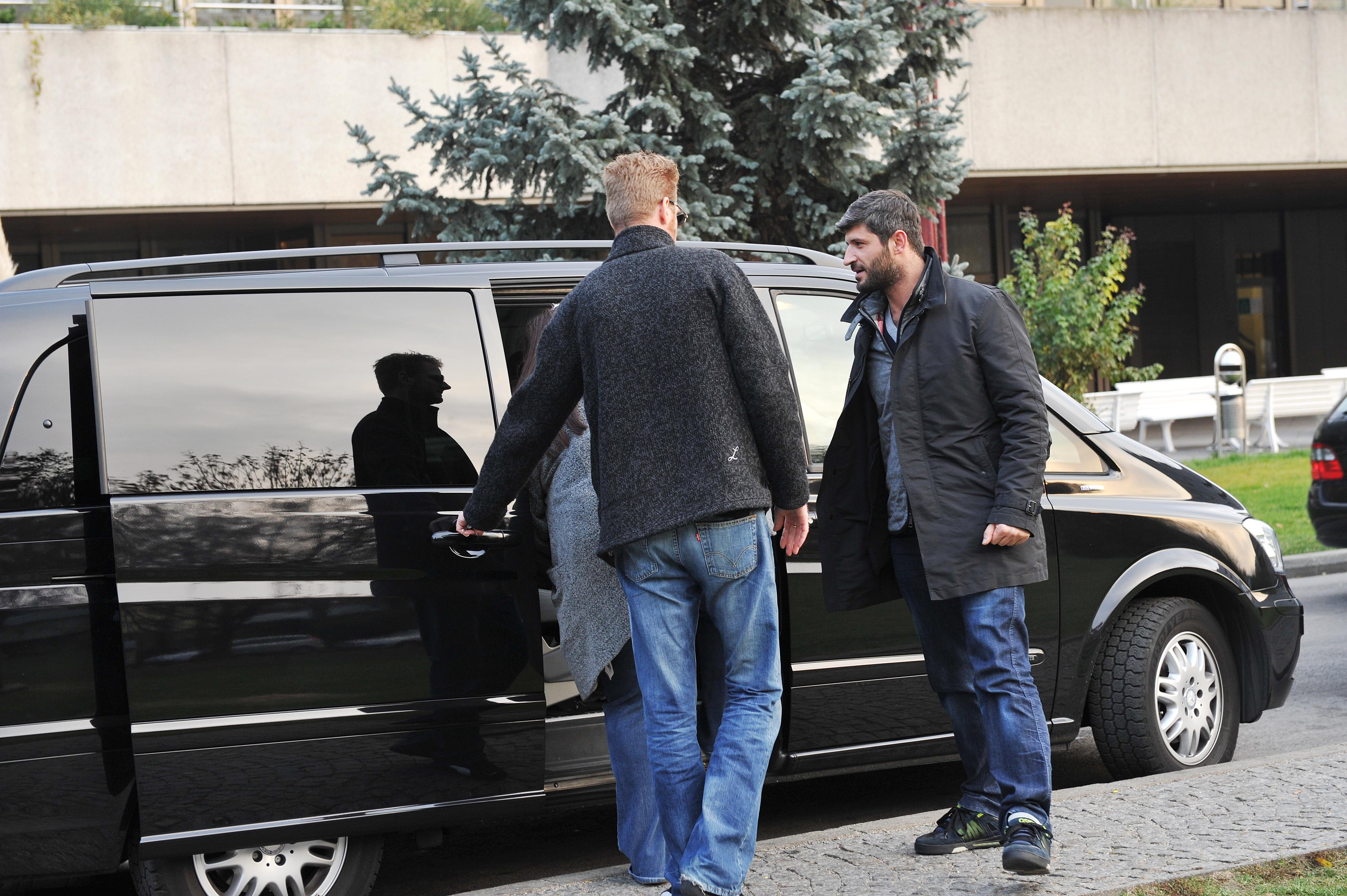 VIENNA, AUSTRIA - NOVEMBER 29:  George Michaels boyfriend Fadi Fawaz (R) leaves the AKH hospital where Singer George Michael was reportedly admitted last week with pneumonia on November 29, 2011 in Vienna, Austria. Michael was forced then to abandon his current tour due to his health.  (Photo by Hans Wurst/Getty Images)