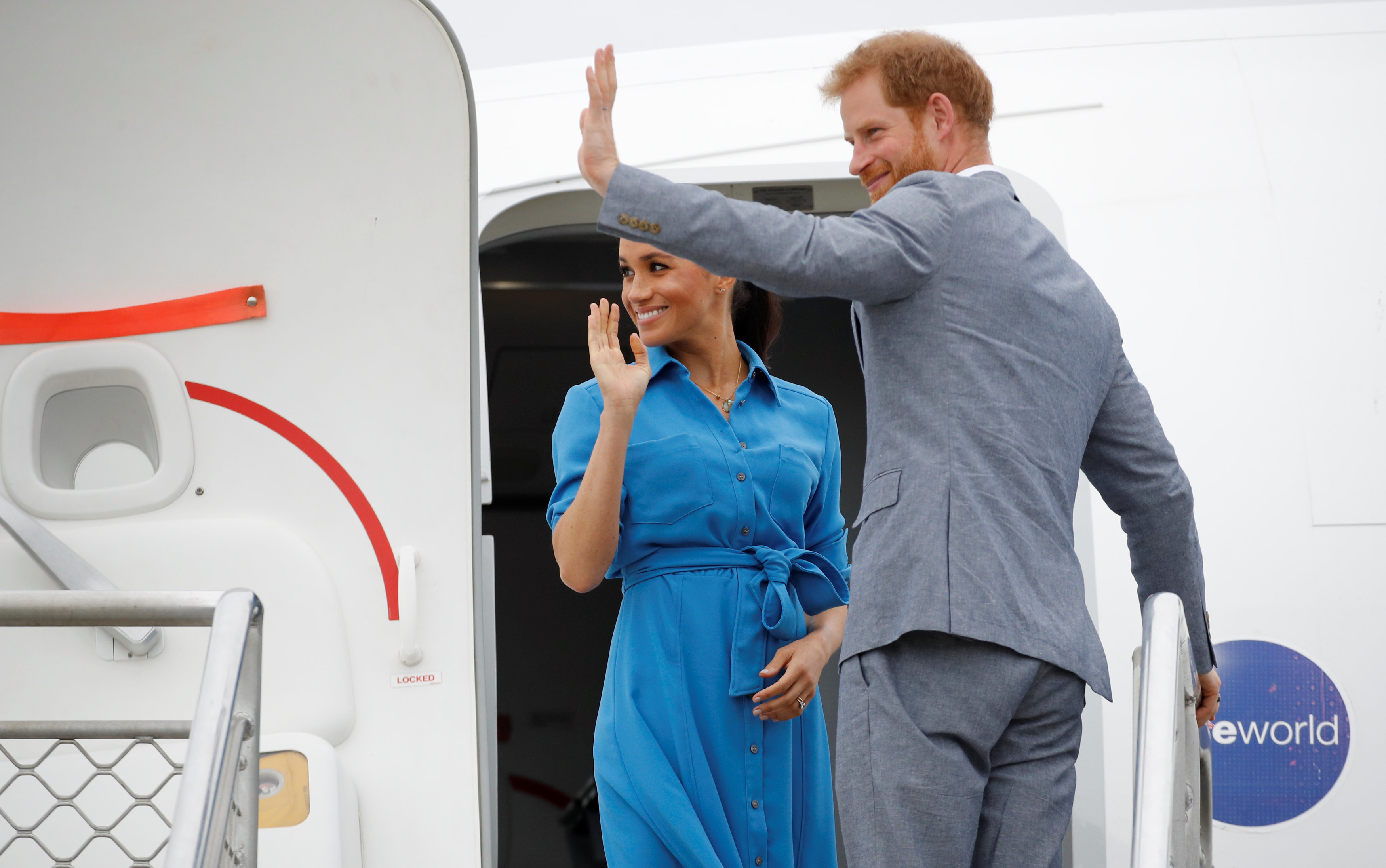 The Duke and Duchess of Sussex depart from Fua'amotu International Airport in Tonga, on day two of the royal couple's visit to Tonga.