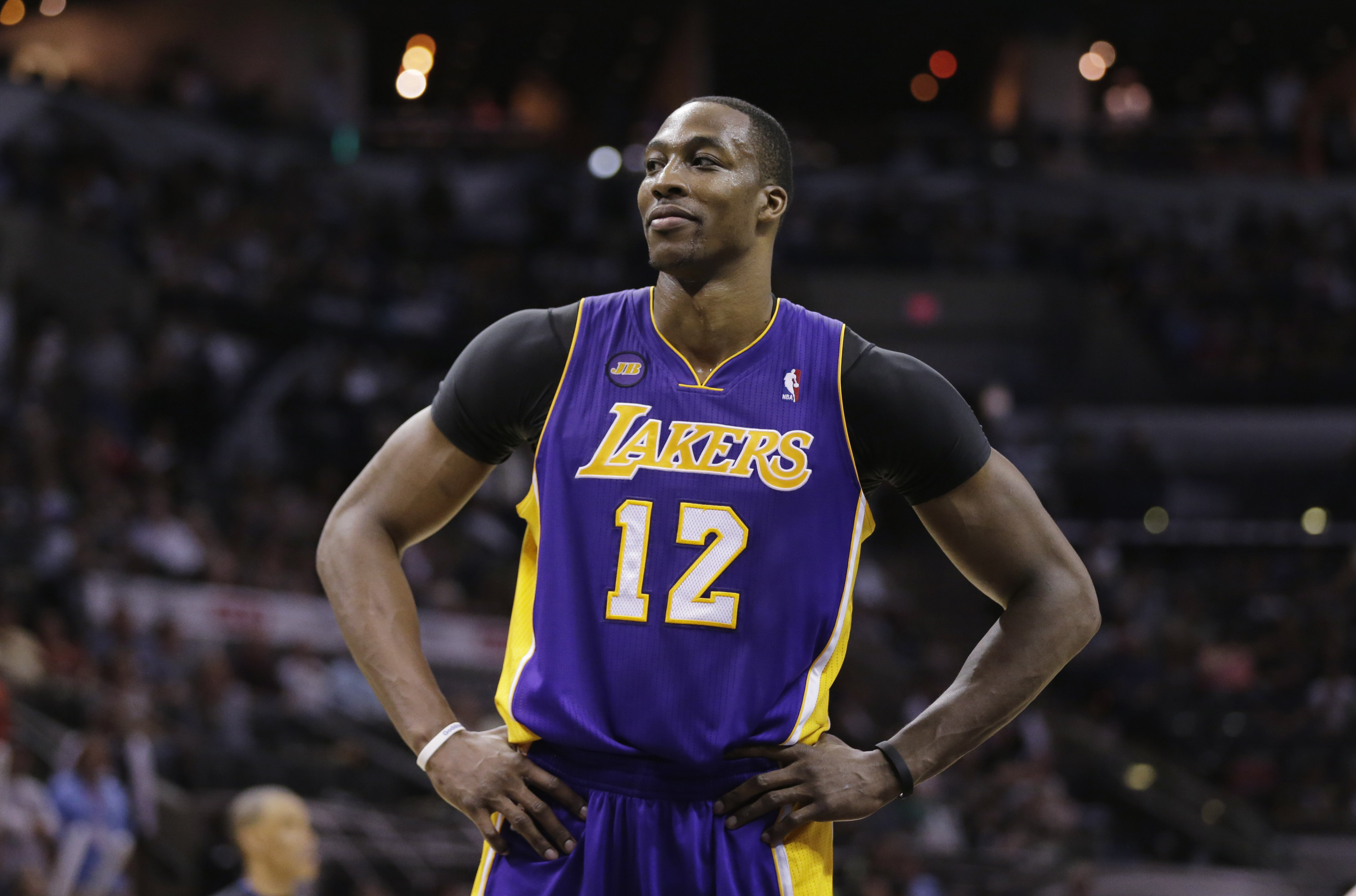 Los Angeles Lakers' Dwight Howard during the second half of Game 1 of an NBA playoffs basketball game against the San Antonio Spurs, Sunday, April 21, 2013, in San Antonio. San Antonio won 91-79. (AP Photo/Eric Gay)