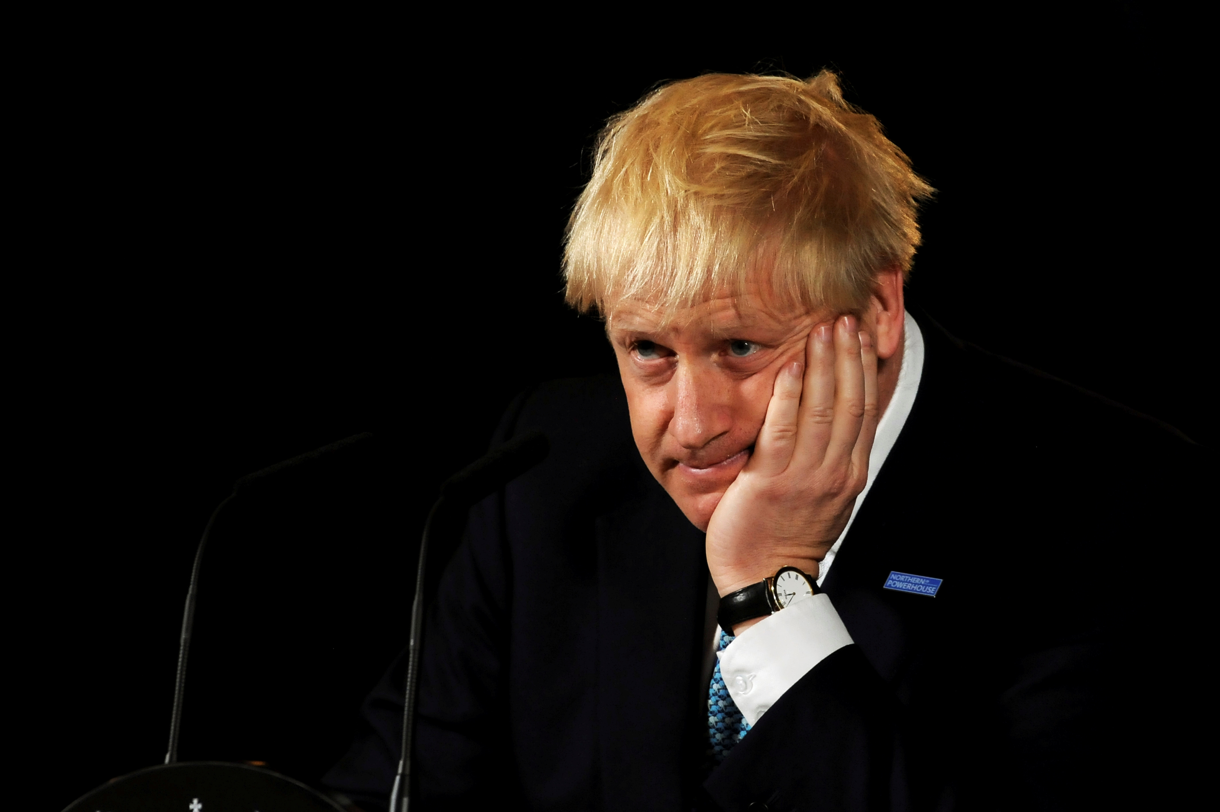Britain's Prime Minister Boris Johnson reacts during a speech on domestic priorities at the Science and Industry Museum in Manchester, Britain July 27, 2019. Rui Vieira/Pool via REUTERS