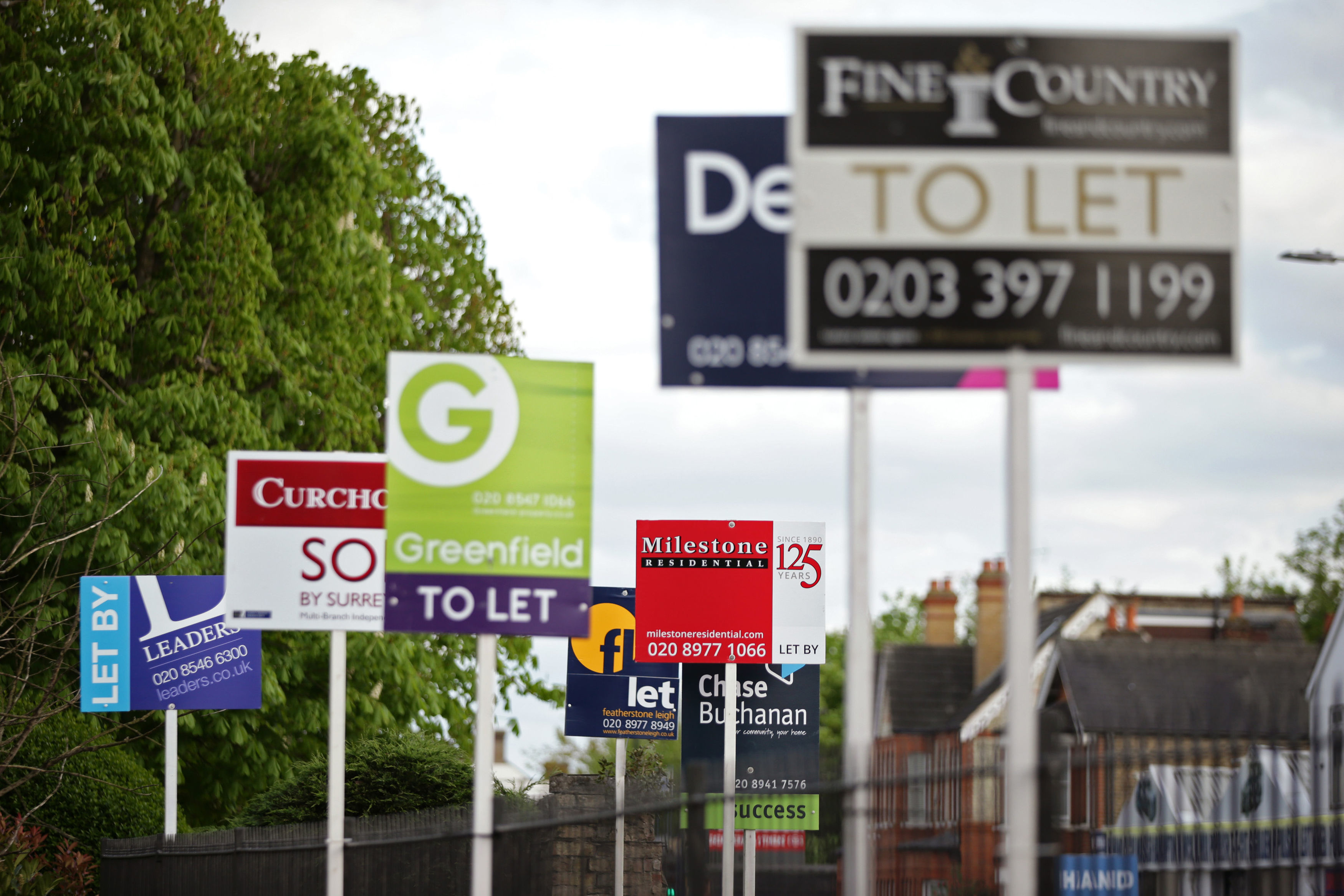 """File photo dated 15/04/17 of letting agent signs. More than one in 10 privately-rented homes in Britain is now let by a private company as the sector continues to """"professionalise"""", according to estimates."""