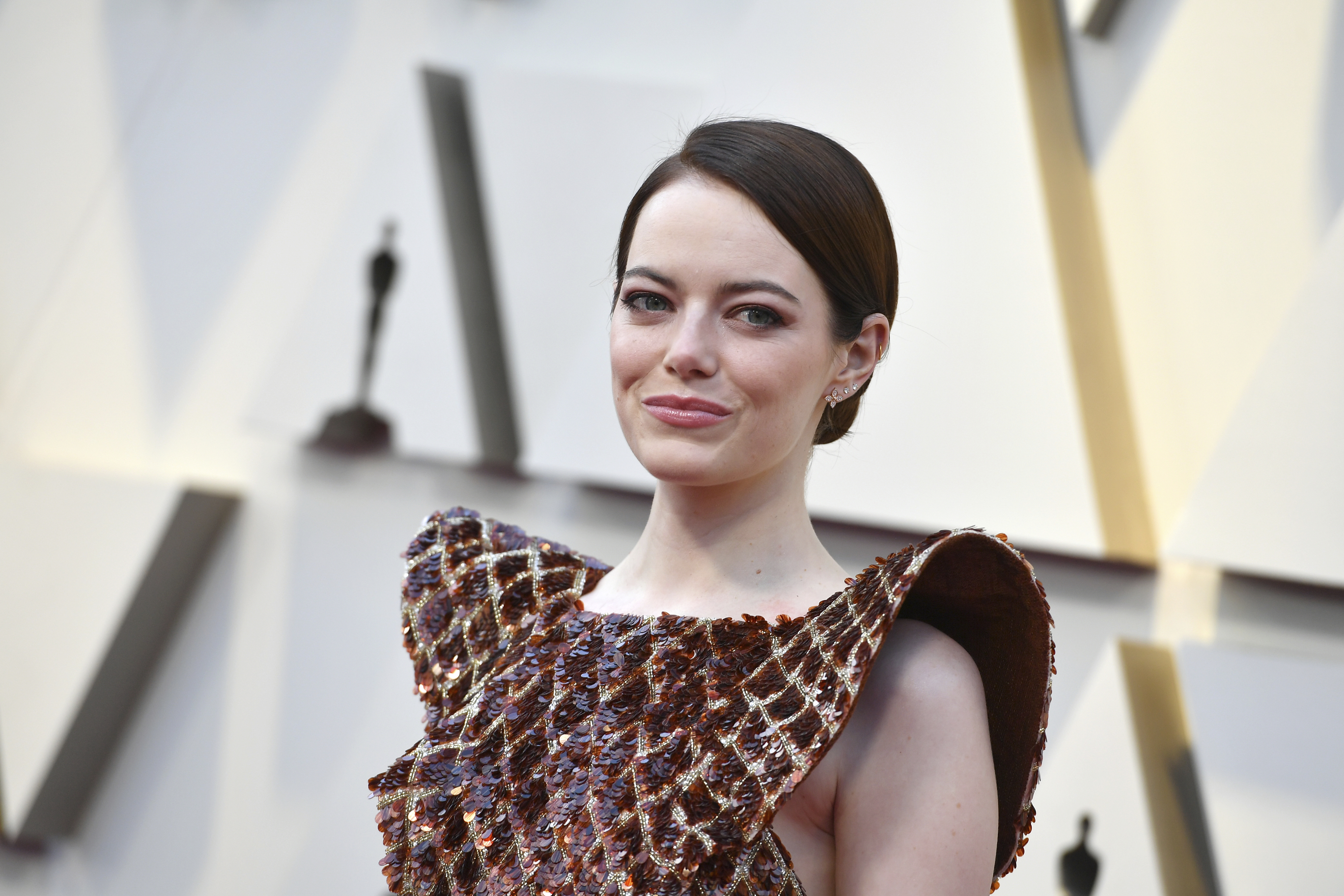 Emma Stone arrives at the Oscars on Sunday, Feb. 24, 2019, at the Dolby Theatre in Los Angeles. (Photo by Jordan Strauss/Invision/AP)