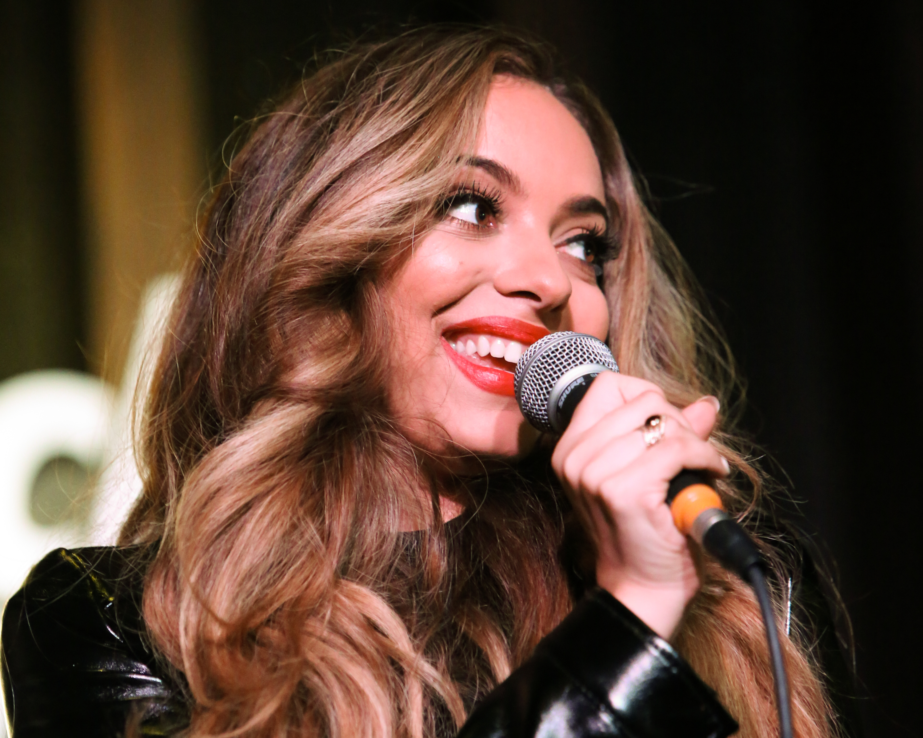 HOLLYWOOD, CA - NOVEMBER 03:  Singer Jade Thirlwall of the Girl Group Little Mix performs live at the Hard Rock Cafe on November 3, 2015 in Hollywood, California.  (Photo by Paul Archuleta/FilmMagic)