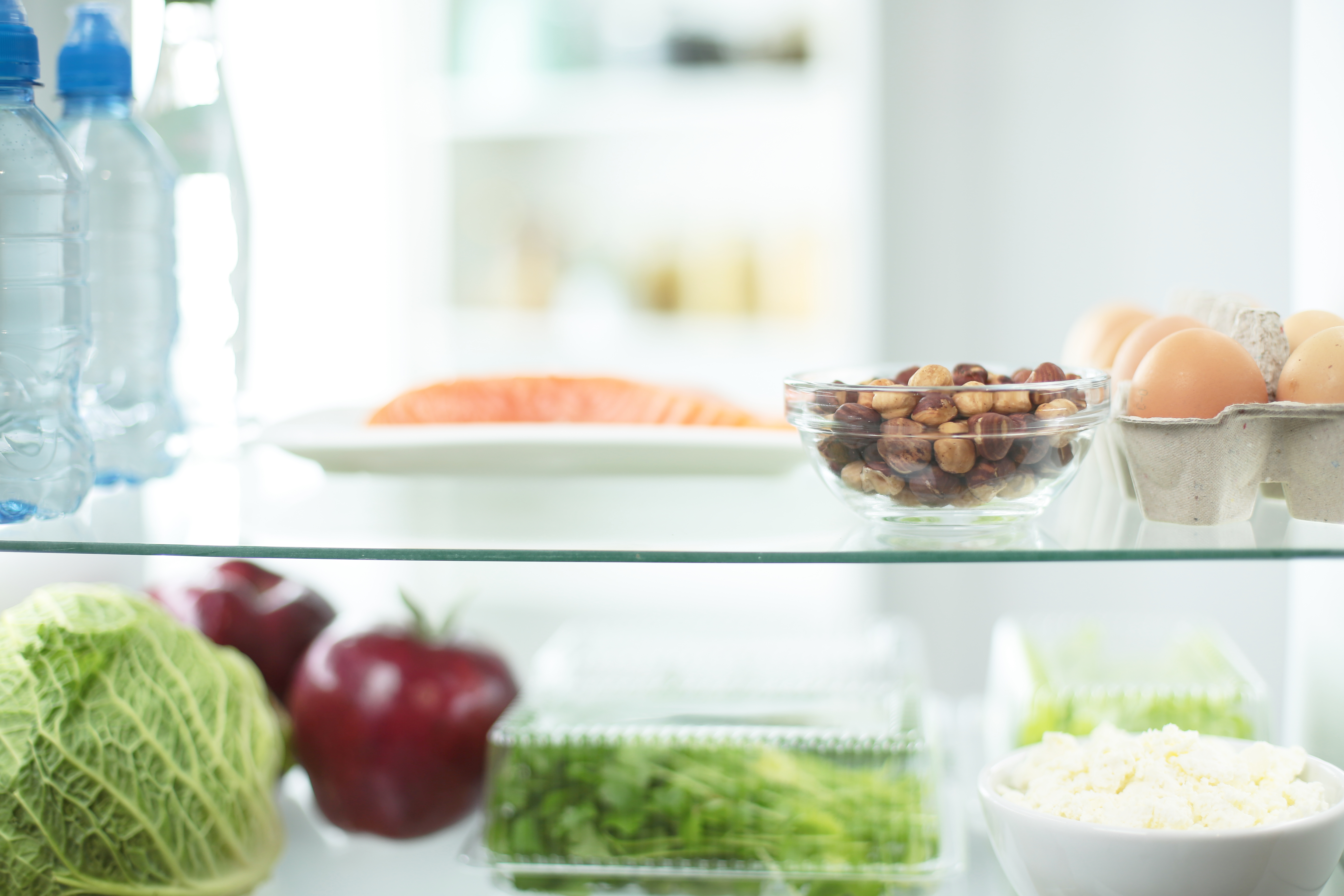Open fridge full of fresh fruits and vegetables, healthy food background, organic nutrition, health care, dieting concept.