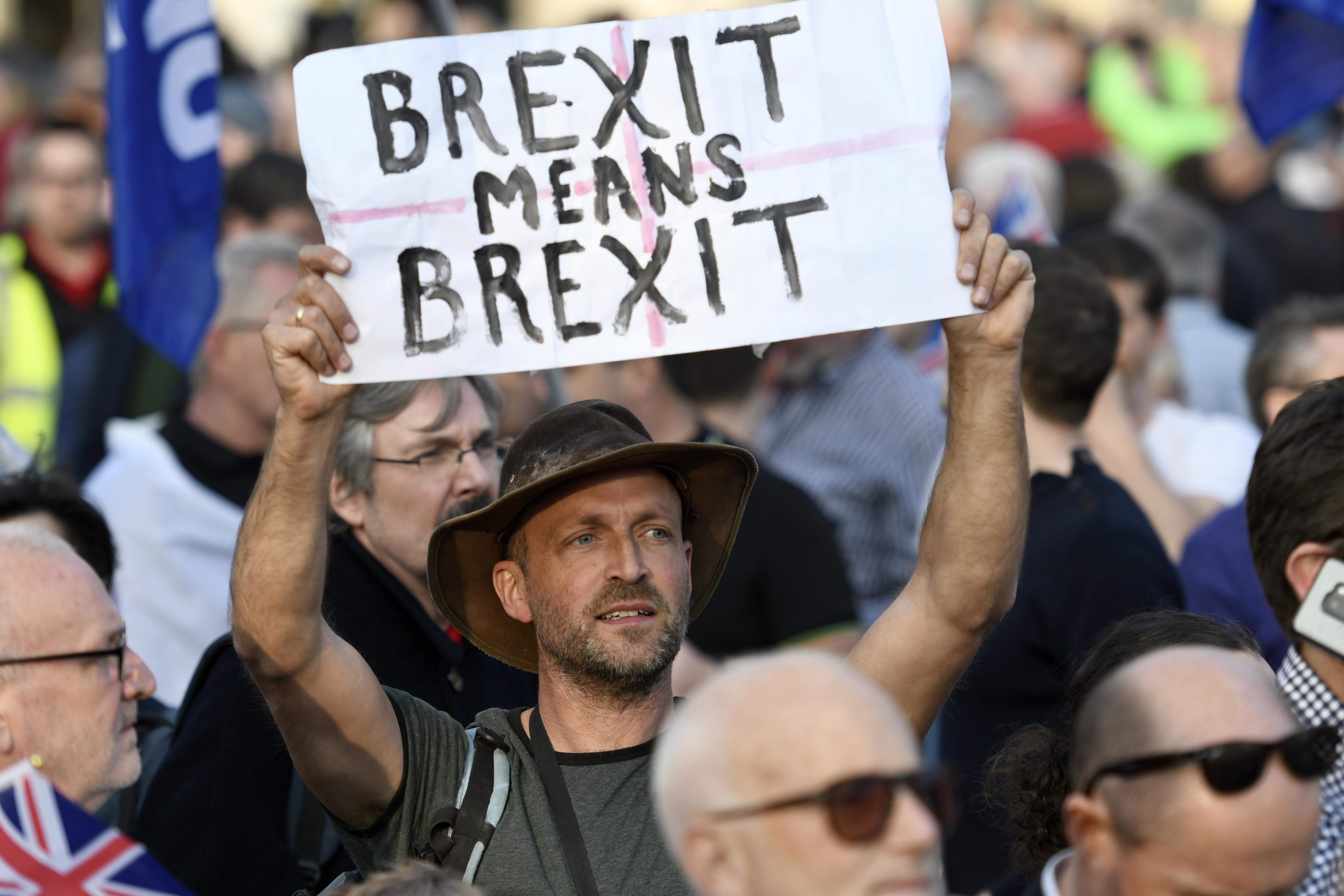"A protester seen holding a placard that says �Brexit means Brexit"" during the Leave means leave rally in London. A Leave means leave pro Brexit march begun on March 16 in Sunderland, UK and ended with a rally in Parliament Square on March 29 in London, same day that UK has been scheduled to leave the European Union. Pro Brexit protesters gathered at Parliament Square to demand from the government to deliver what was promised and leave the European Union without a deal. Nigel Farage and Tommy Robinson were seen giving speeches to their supporters in different stages during the pro Brexit protest. (Photo by Andres Pantoja / SOPA Images/Sipa USA)"