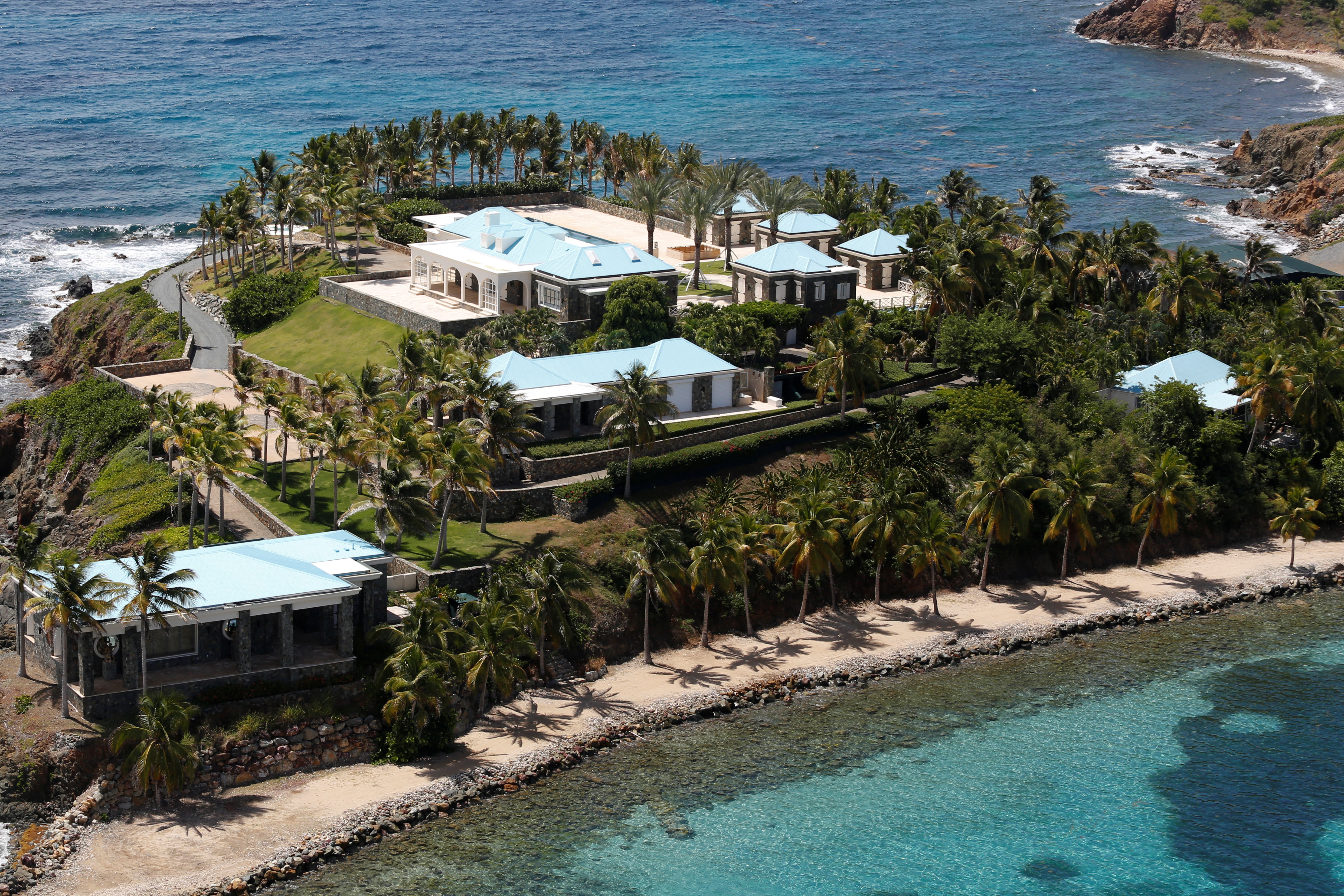 Facilities at Little St. James Island, one of the properties of financier Jeffrey Epstein, are seen in an aerial view, near Charlotte Amalie, St. Thomas, U.S. Virgin Islands July 21, 2019. REUTERS/Marco Bello