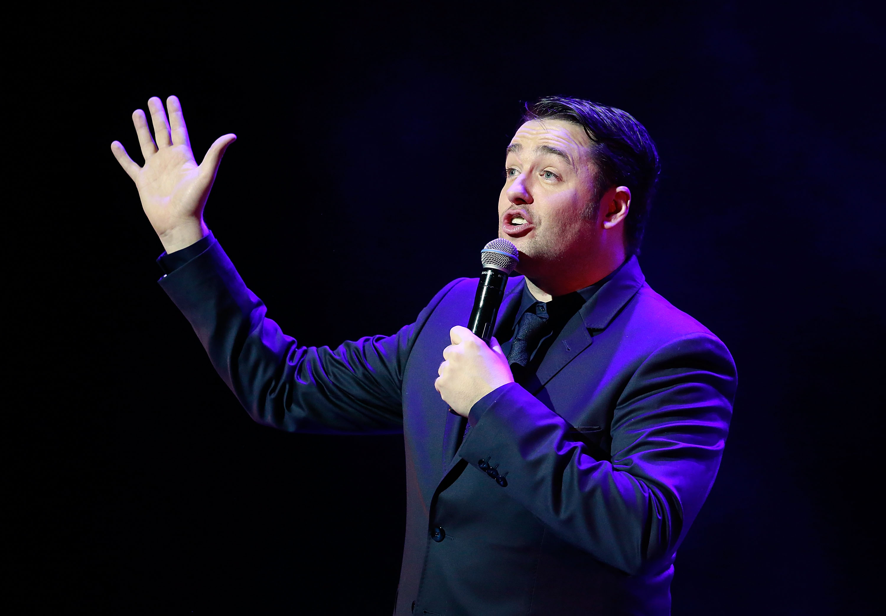 LONDON, ENGLAND - NOVEMBER 27:  Jason Manford performs on stage during Absolute Radio Live in aid of Macmillan Cancer Support, at the London Palladium on November 27, 2016 in London, England.  (Photo by John Phillips/John Phillips/Getty Images)