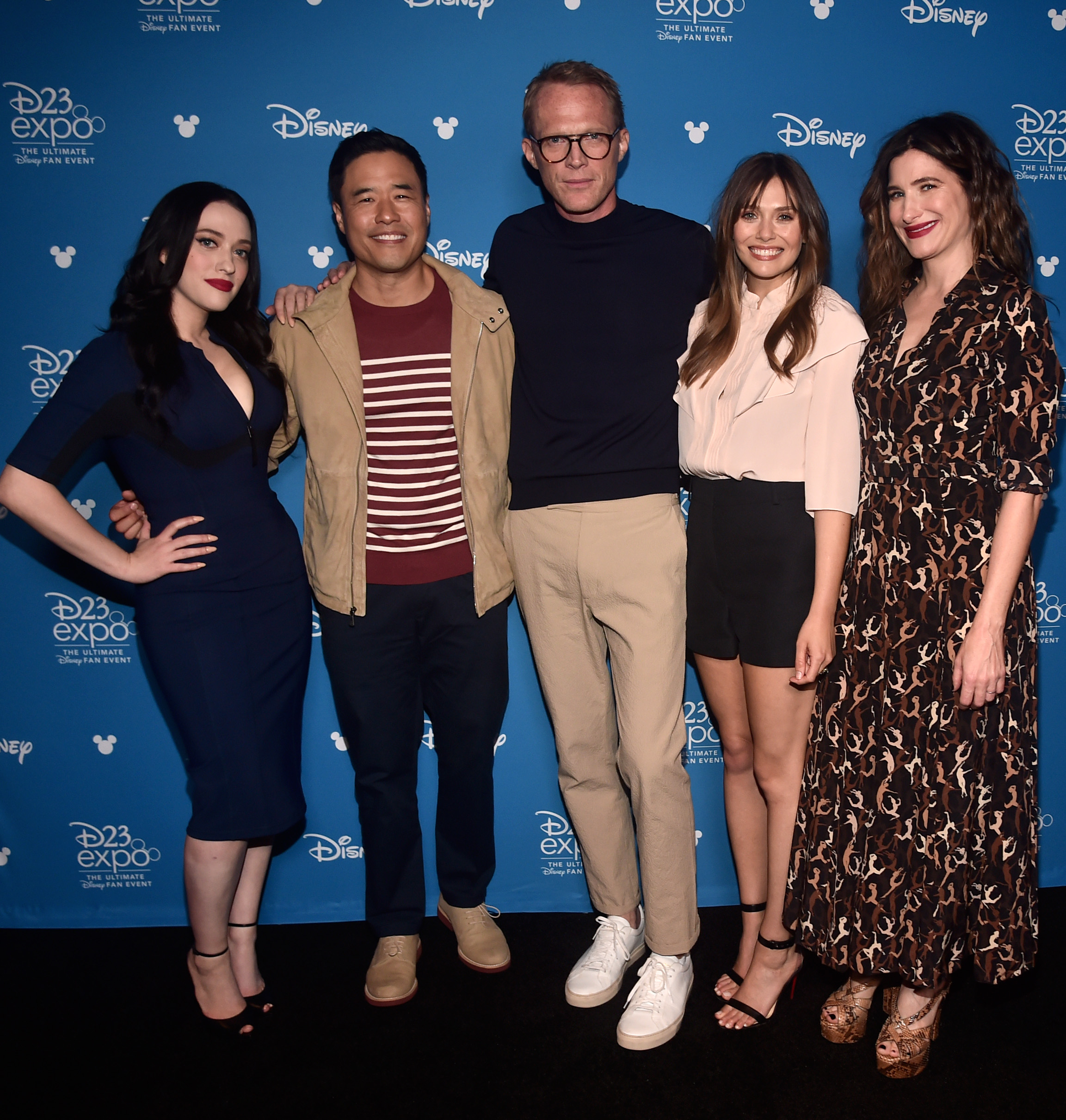 ANAHEIM, CALIFORNIA - AUGUST 23: (L-R) Kat Dennings, Randall Park, Paul Bettany, Elizabeth Olsen, and Kathryn Hahn of 'WandaVision' took part today in the Disney+ Showcase at Disney's D23 EXPO 2019 in Anaheim, Calif. 'WandaVision' will stream exclusively on Disney+, which launches November 12. (Photo by Alberto E. Rodriguez/Getty Images for Disney)
