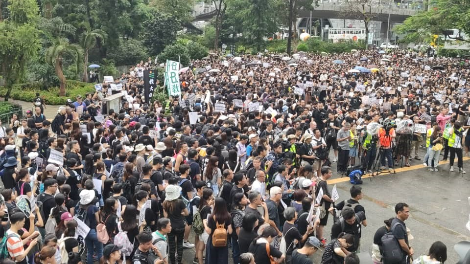 Mass action: Demonstrators gather for a 'Safeguard the next generation' protest in Hong Kong on Saturday. (GETTY)