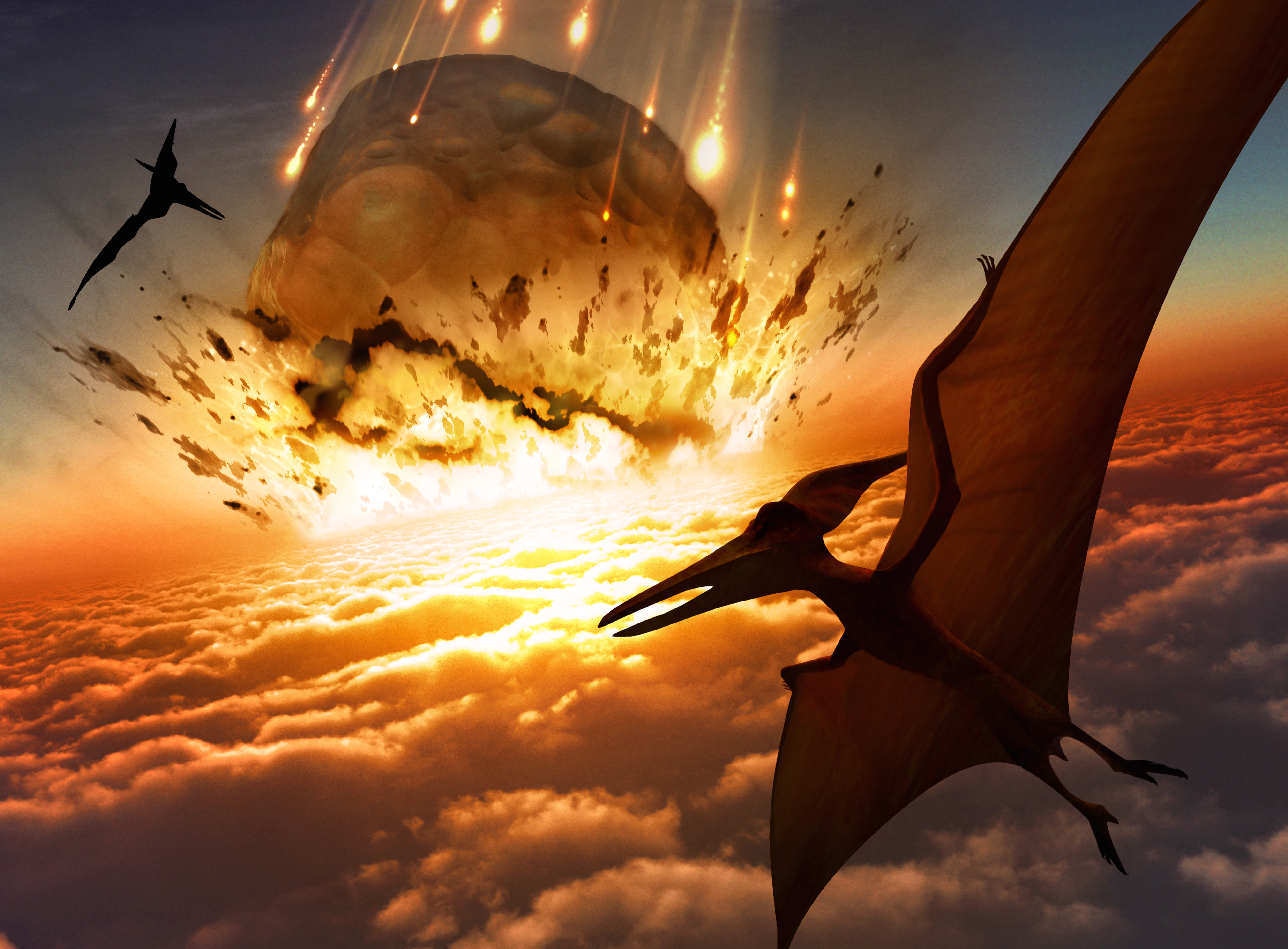 Illustration of Pteranodon sp. flying reptiles watching a massive asteroid approaching Earth's surface. A similar impact is believed to have led to the death of the dinosaurs some 65 million years ago. The impact would have thrown trillions of tons of dust into the atmosphere, cooling the Earth's climate significantly, which may have been responsible for the mass extinction. A layer of iridium-rich rock, known as the K-pg boundary, is thought to be the remnants of the impact debris.