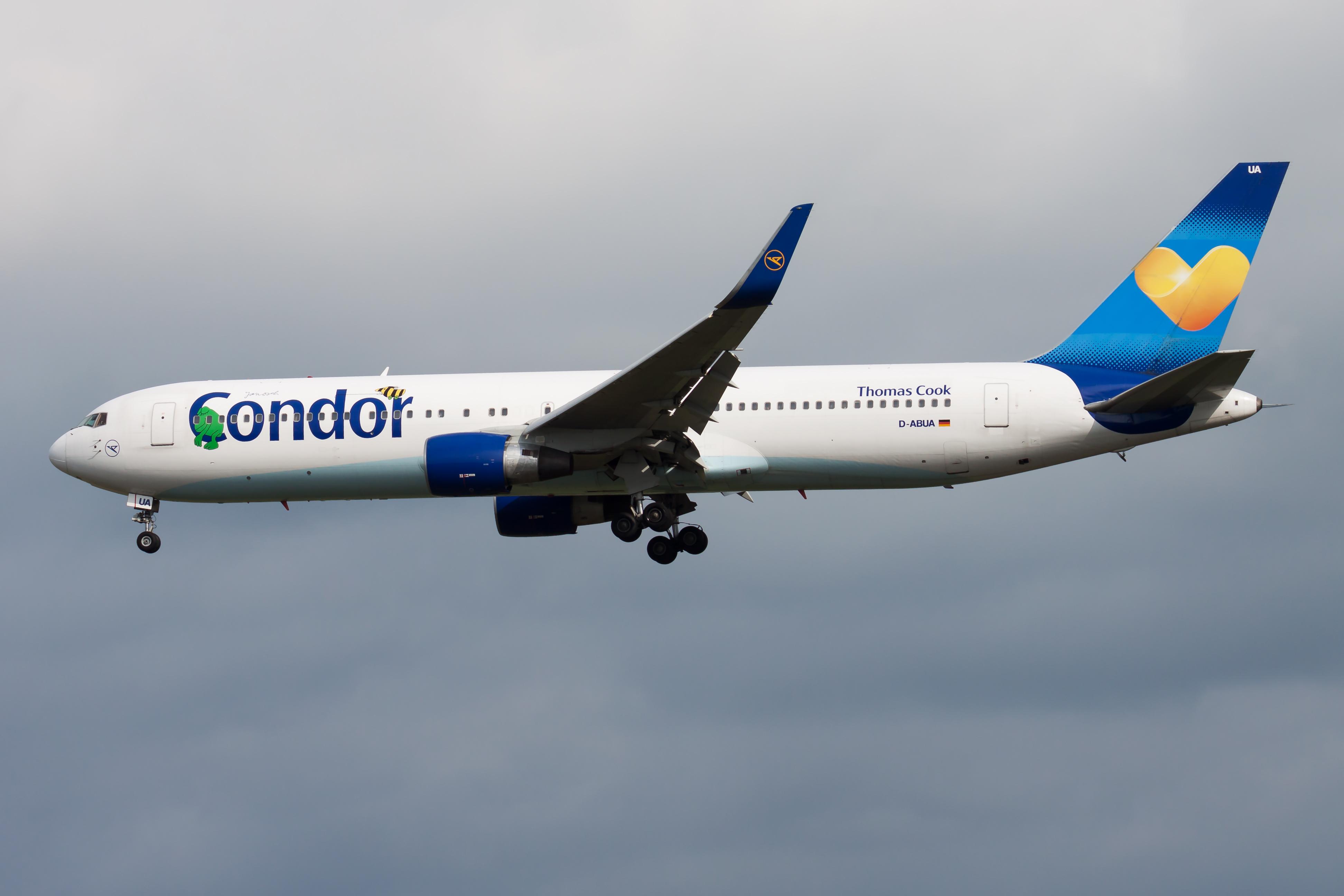 FRANKFURT / GERMANY - AUGUST 17, 2014: Condor Airlines Boeing 767-300 D-ABUA passenger plane landing at Frankfurt airport