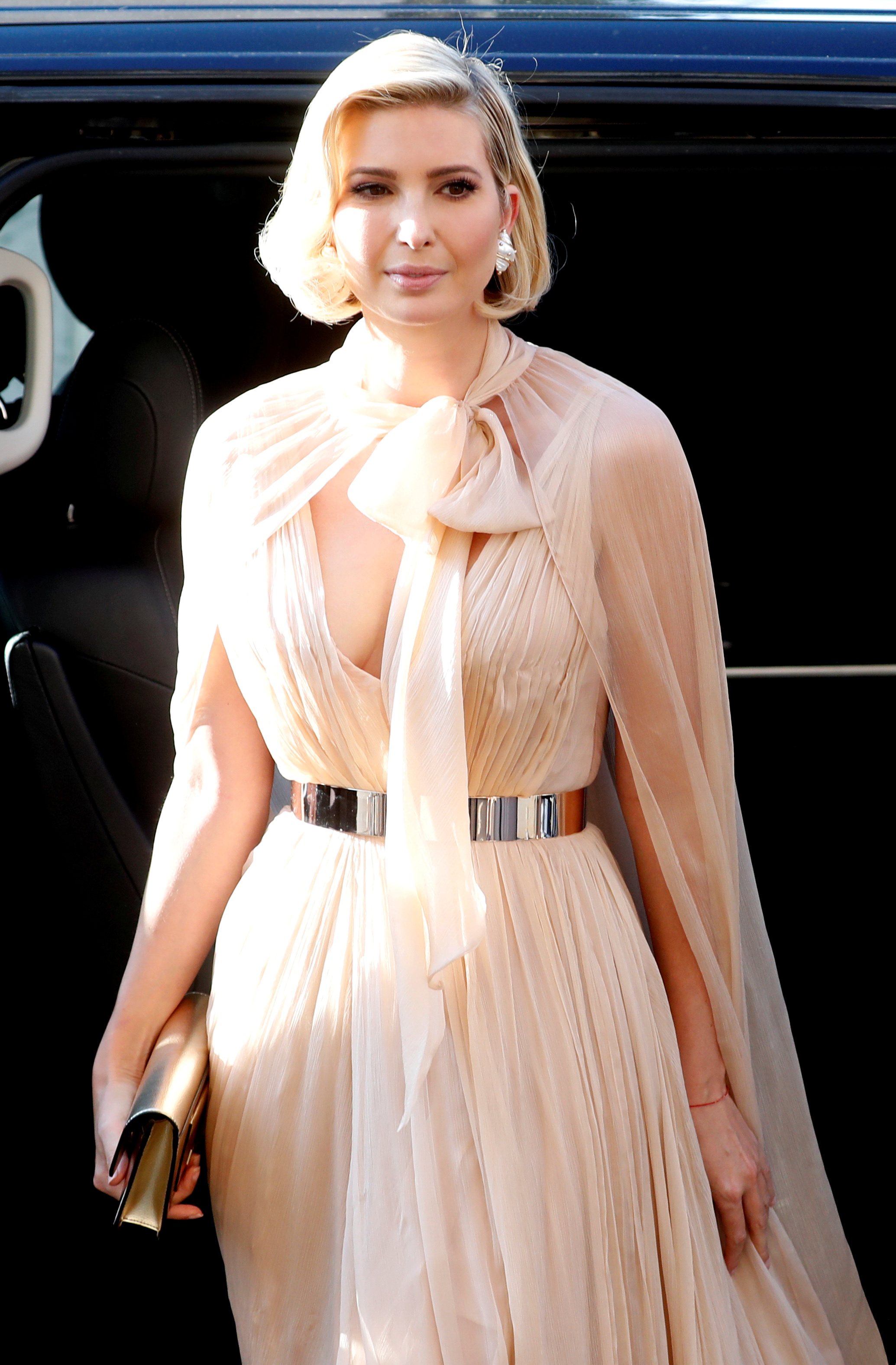Ivanka Trump arrives to attend the wedding of fashion designer Misha Nonoo at Villa Aurelia in Rome, Italy, September 20, 2019. REUTERS/Remo Casilli
