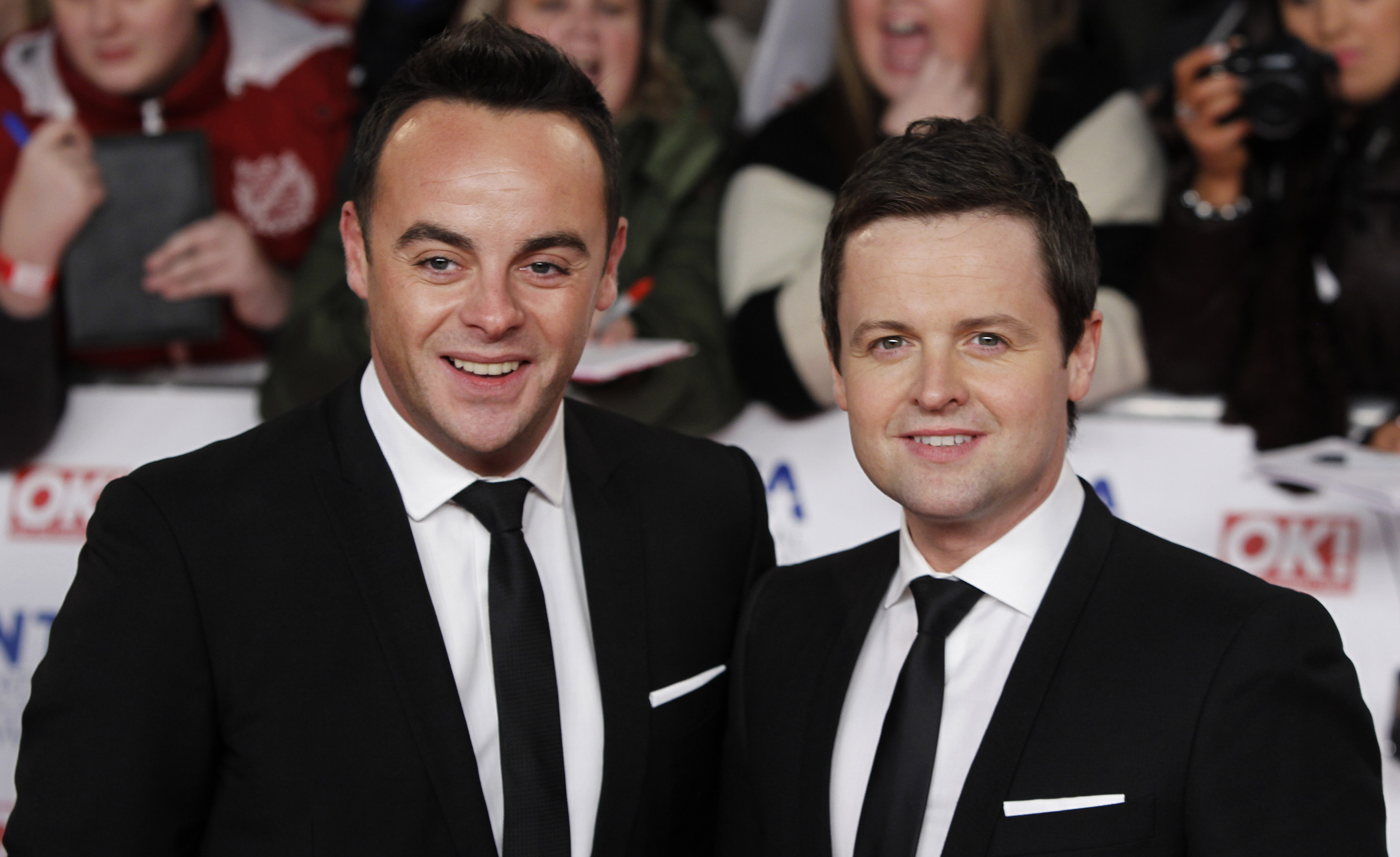 Ant and Dec arrive for the National Television Awards at the 02 Arena in east London, Wednesday, Jan. 25, 2012. (AP Photo/Joel Ryan)