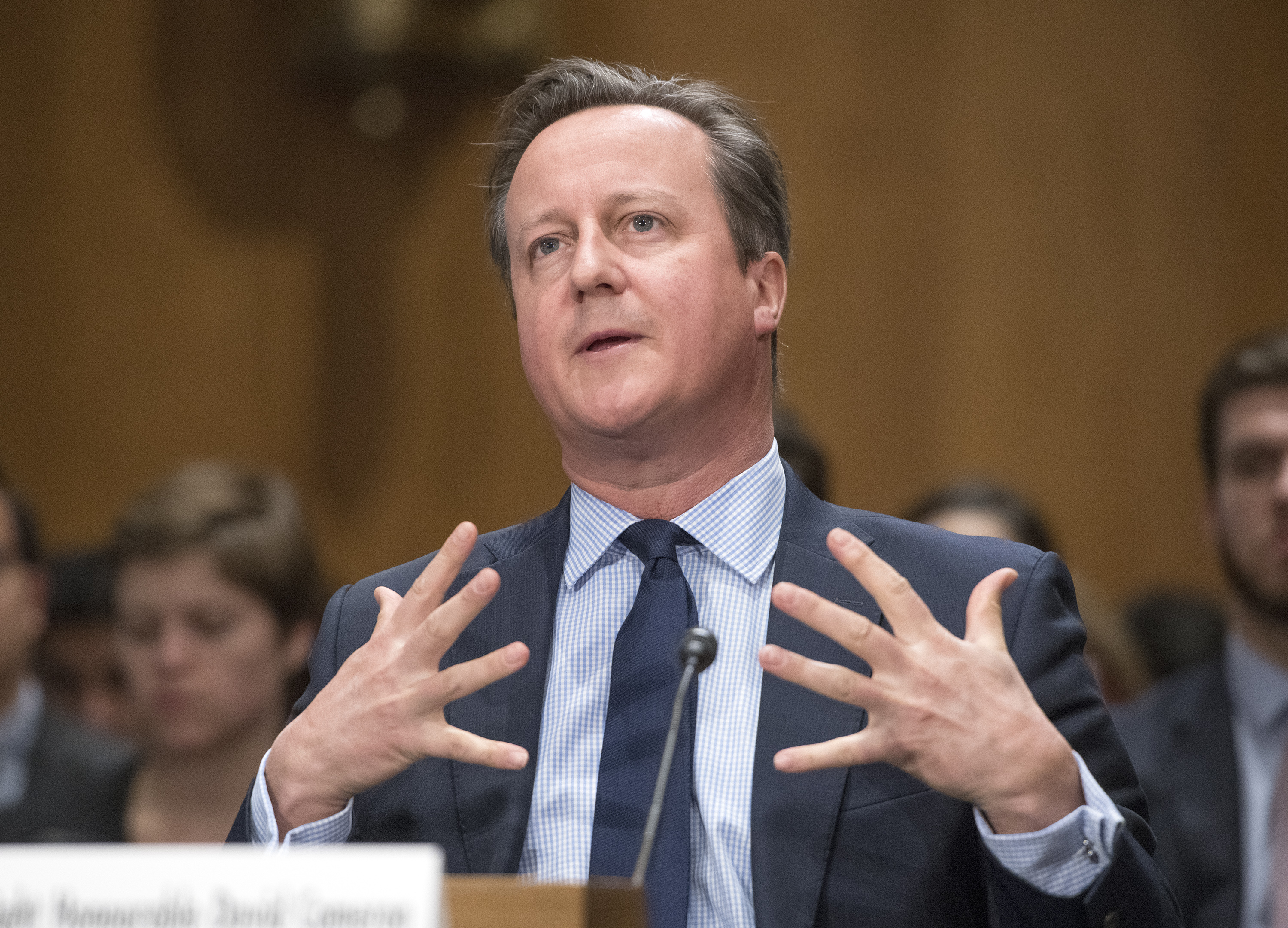 "Former Prime Minister David Cameron of the United Kingdom, Chairman, Commission on State Fragility, Growth and Development, testifies at a hearing before the United States Senate Committee on Foreign Relations ""to examine state fragility, growth, and development, focusing on designing policy approaches that work"" on Capitol Hill in Washington, DC on Tuesday, March 13, 2018. (Photo by Ron Sachs/CNP/Sipa USA)"
