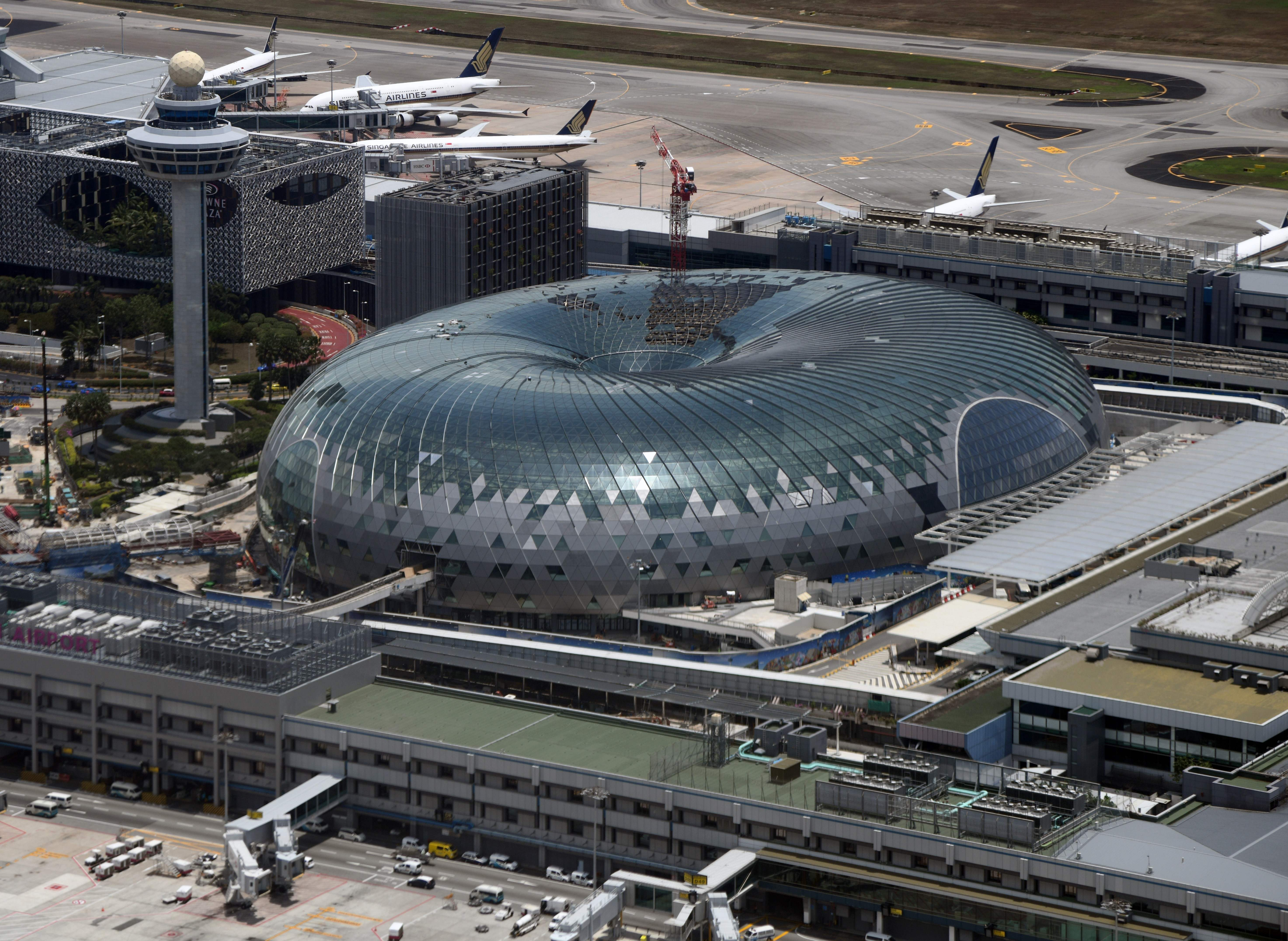 An aerial view taken from a commercial flight shows the Jewel Changi Airport