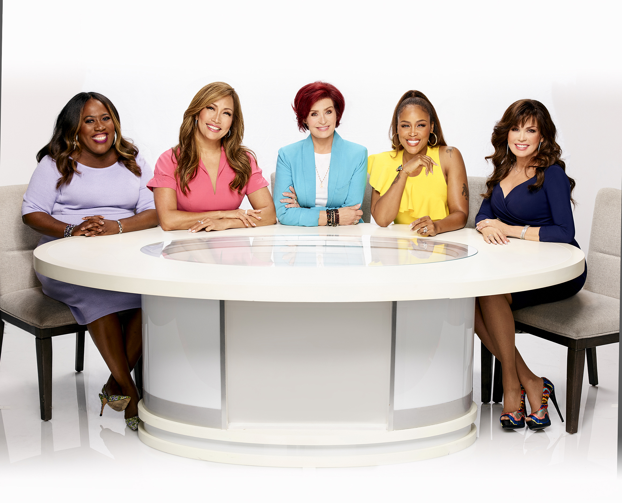 LOS ANGELES - SEPTEMBER 4: Pictured L-R: Sheryl Underwood, Carrie Ann Inaba, Sharon Osbourne, Eve Cooper, and Marie Osmond, hosts of the CBS series THE TALK, airing Weekdays 2:00-3:00 PM, ET; 1:00-2:00 PM, PT on the CBS Television Network.  (Photo by Art Streiber/CBS via Getty Images)