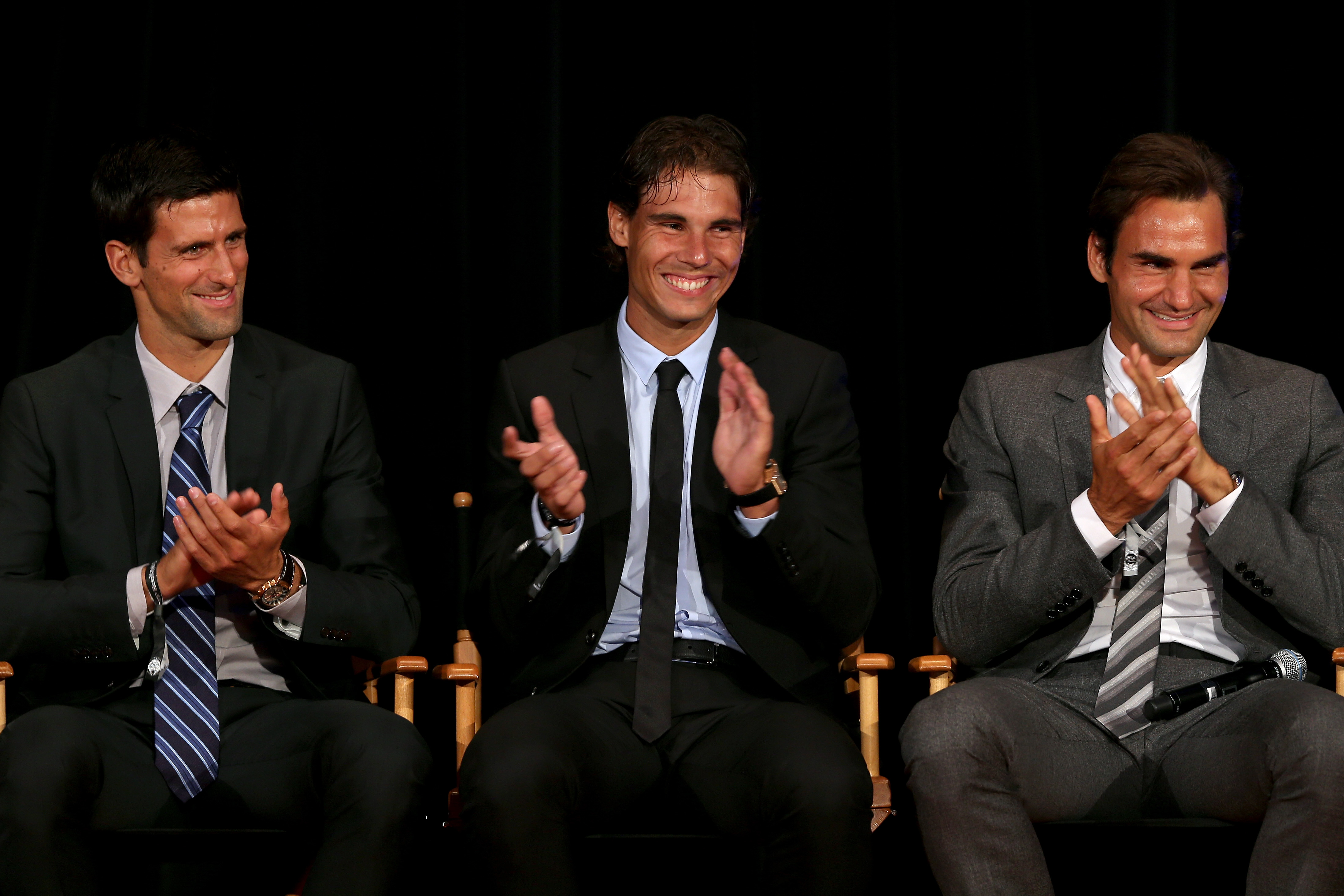 Djokovic, Nadal and Federer in New York City. (Photo by Matthew Stockman/Getty Images)