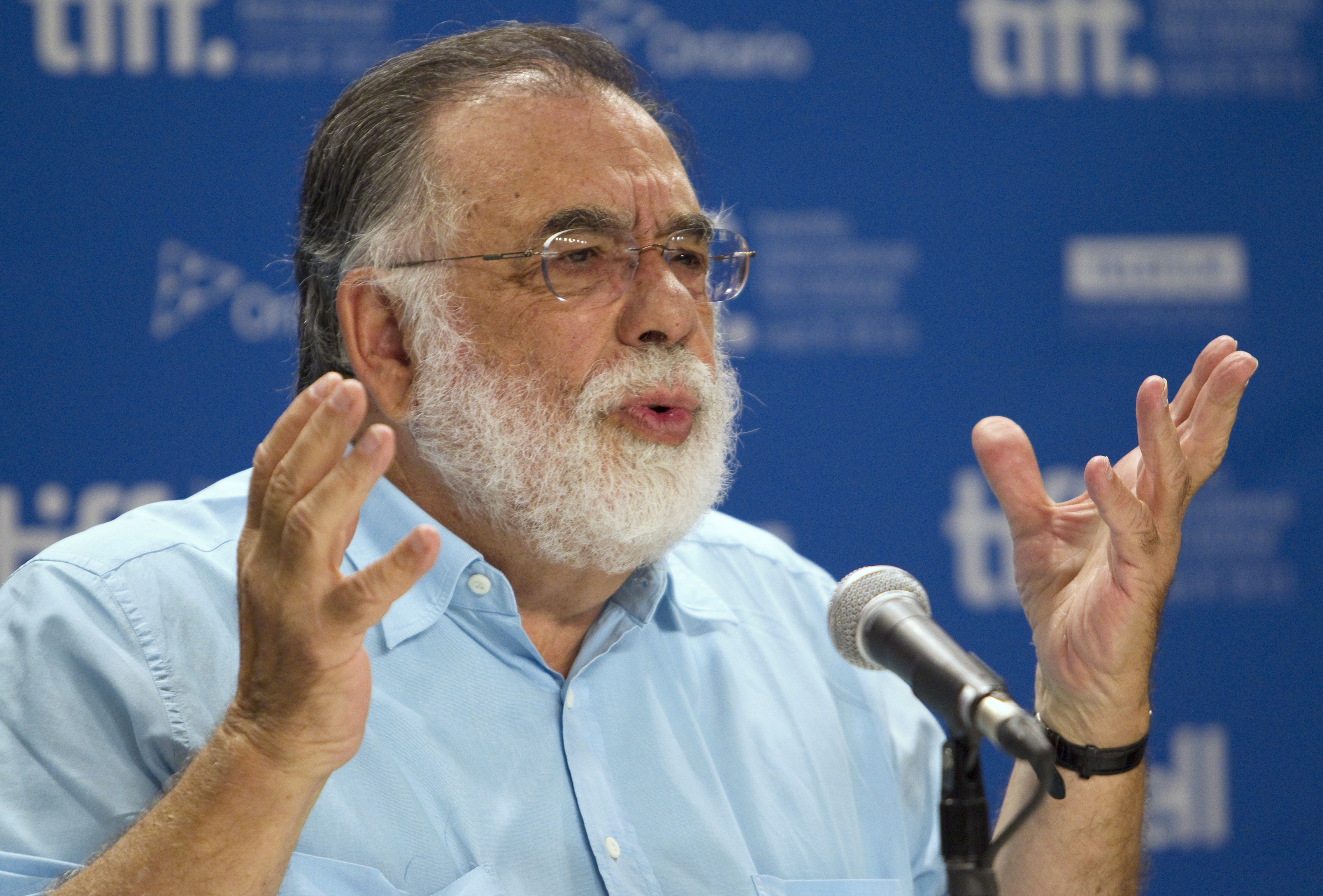 "Director Francis Ford Coppola speaks at a news conference for his film ""Twixt"" at the 36th Toronto International Film Festival in Toronto September 12, 2011.  REUTERS/Fred Thornhill  (CANADA - Tags: ENTERTAINMENT)"