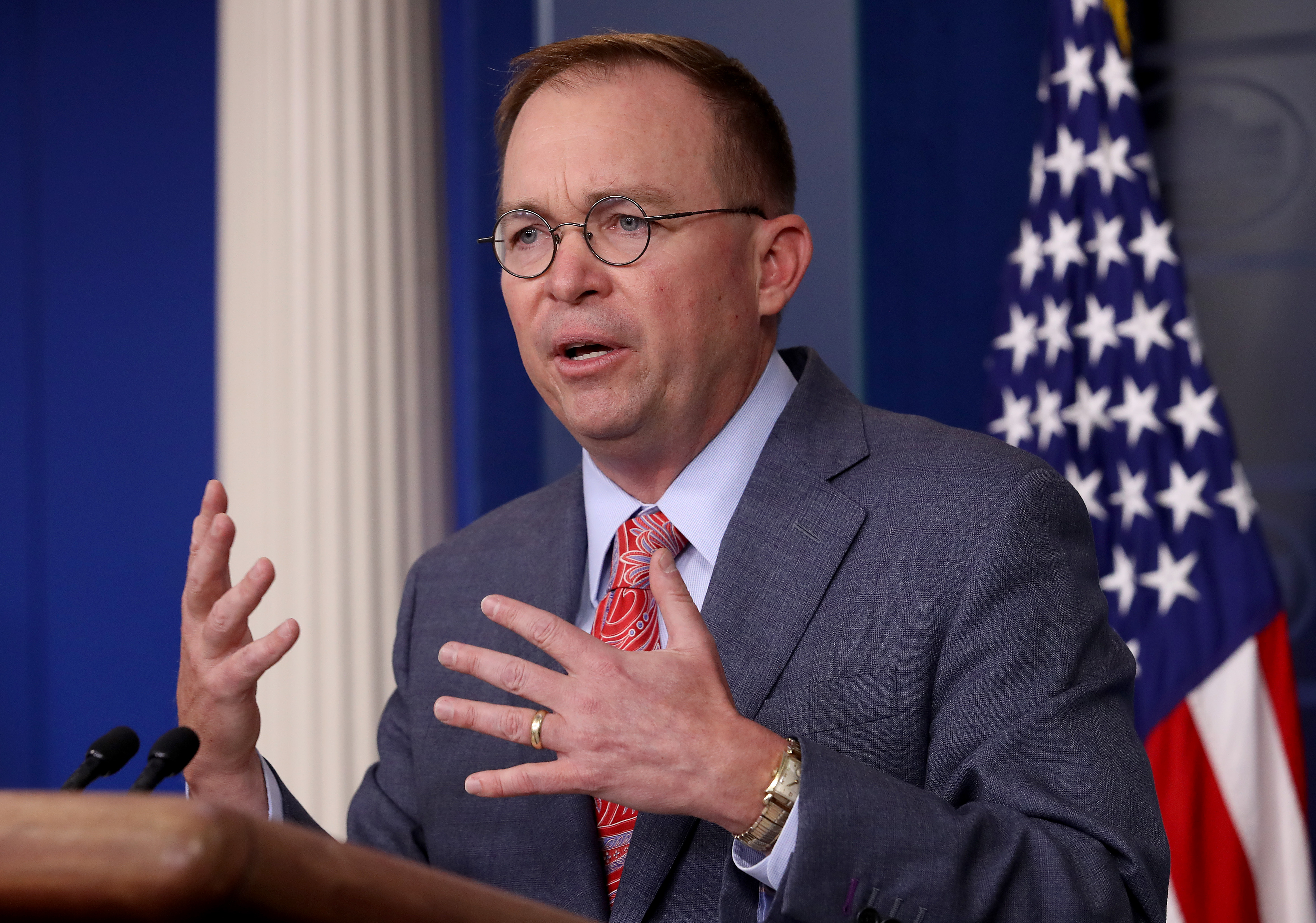 Trump is in the hospitality business, Mulvaney says, after president reverses plan to host summit at his golf club
