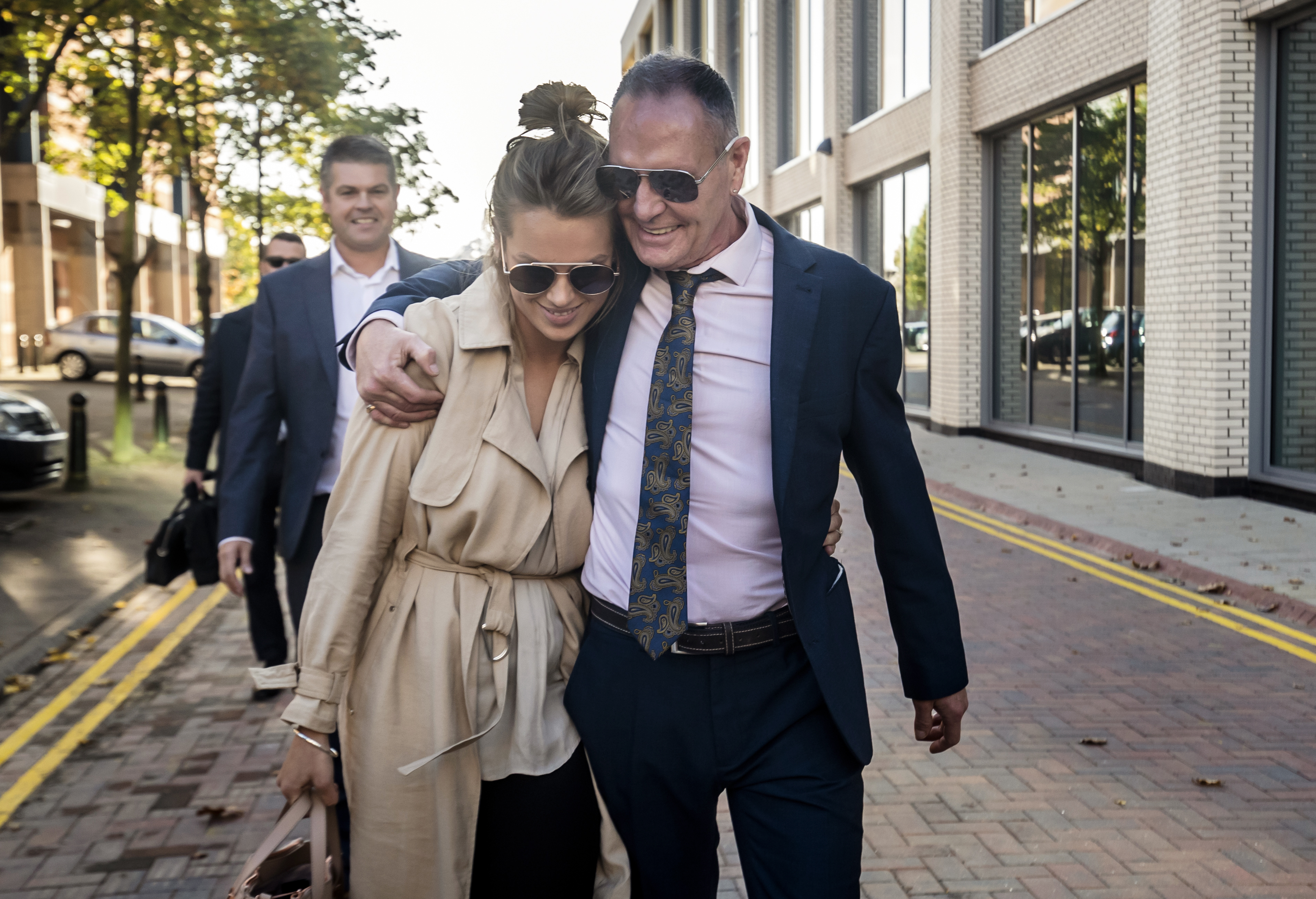 Former England footballer Paul Gascoigne with Katie Davies, Personal Manager for Paul Gascoigne M&N Management, leaving Teesside Crown Court, Middlesbrough, after he was cleared of all charges of sexually assaulting a woman on a train.