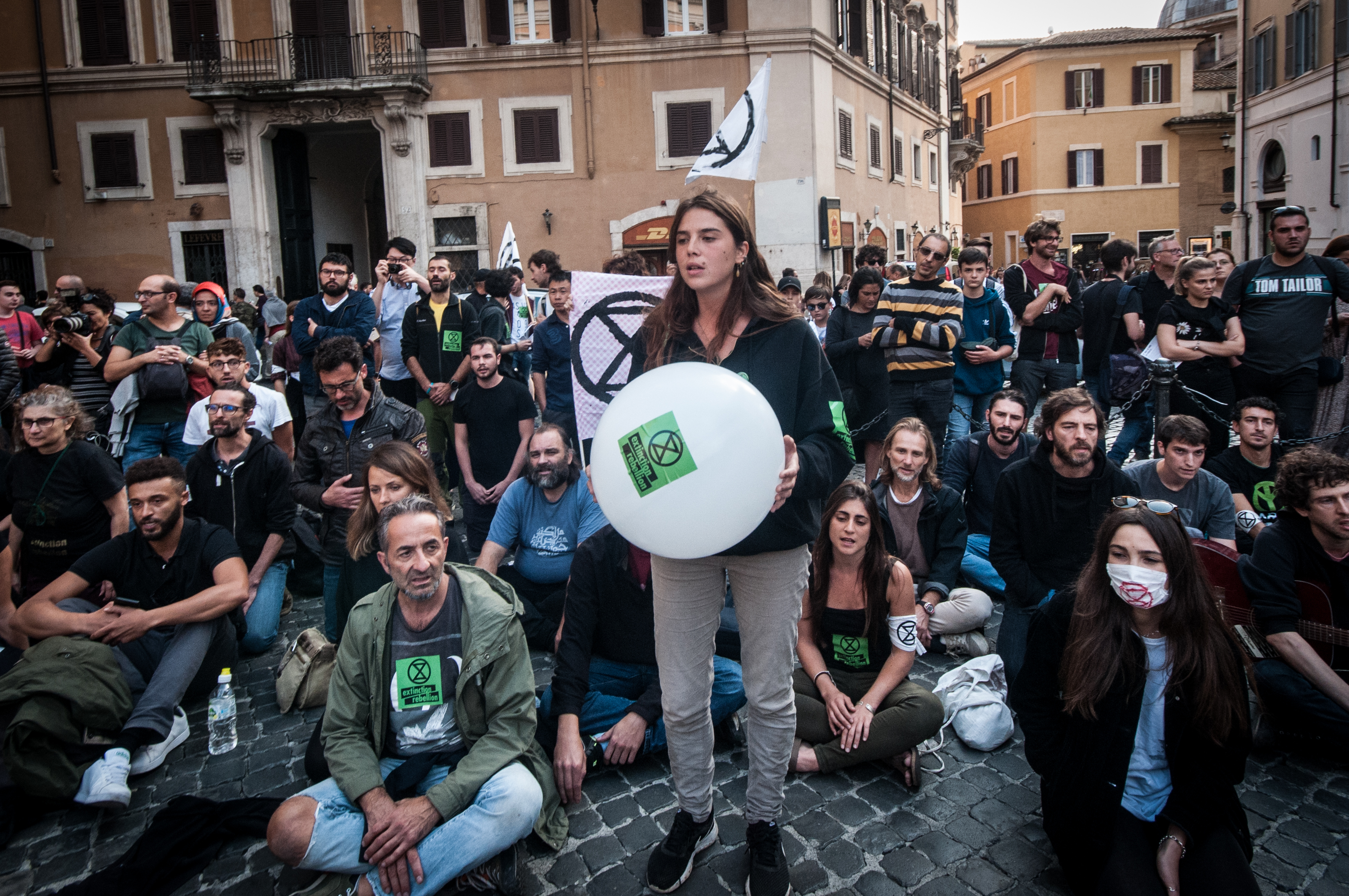 "The Italian week of protests of Extinction Rebellion (XR), the international movement for ecology and climate, which in April had blocked London with occupations of roads and metro, begins on Monday, October 7 in Rome, with an ""occupation"" of Piazza Montecitorio. on October 7, 2019 in Rome, Italy. (Photo by Andrea Ronchini/NurPhoto via Getty Images)"