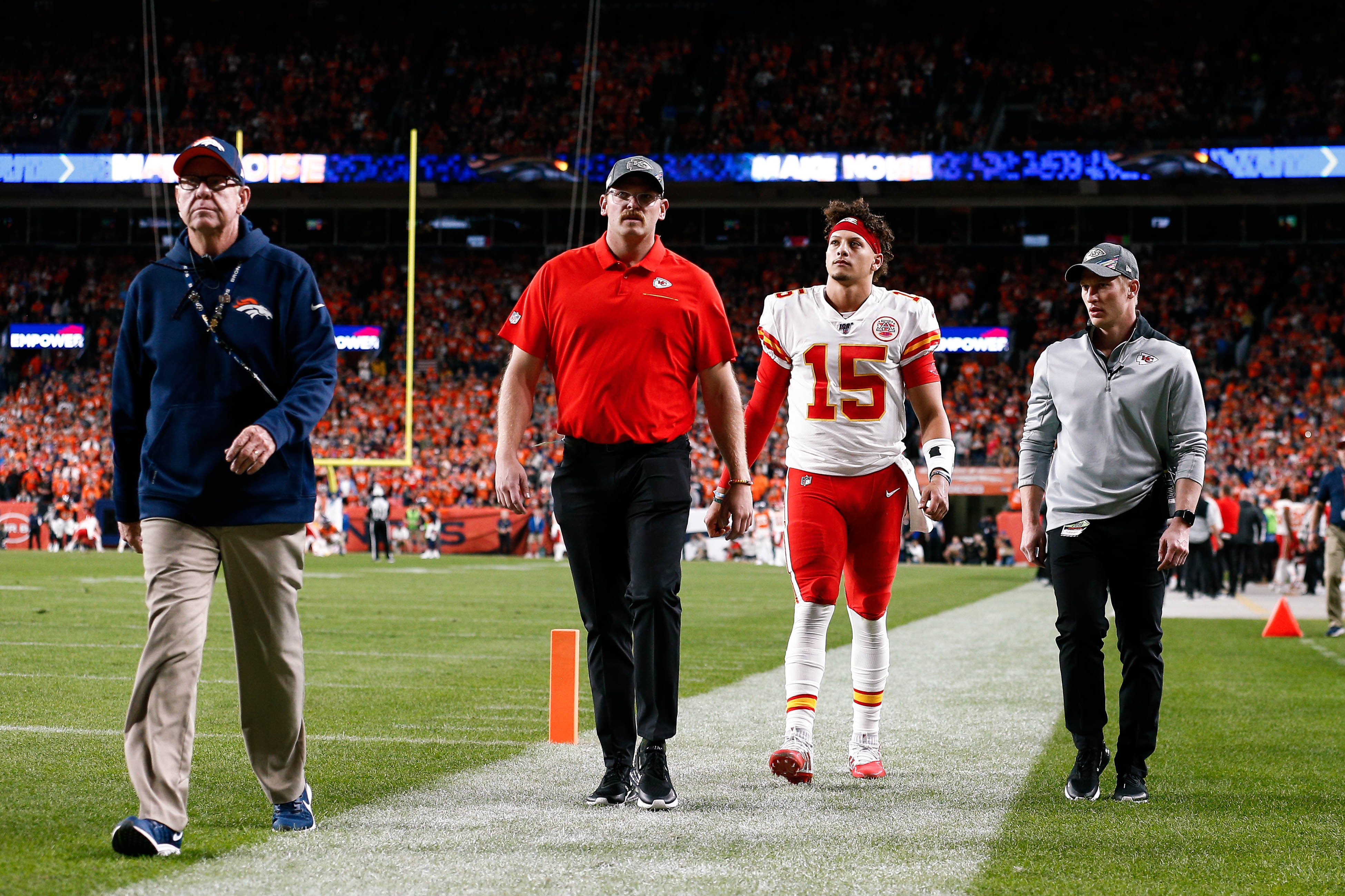 Patrick Mahomes walked off the field on his own power, setting the mood for the Chiefs in the process.  (Isaiah J. Downing/Reuters)
