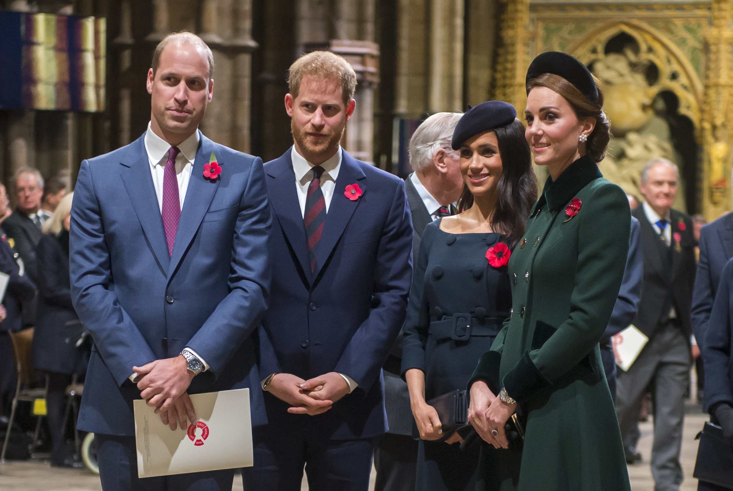 """Prince William, Prince Harry, Meghan Markle, and Kate Middleton, pictured together in 2018, will now lead very different lives, in the aftermath of """"Megxit."""" (Photo: Paul Grover- WPA Pool/Getty Images)"""