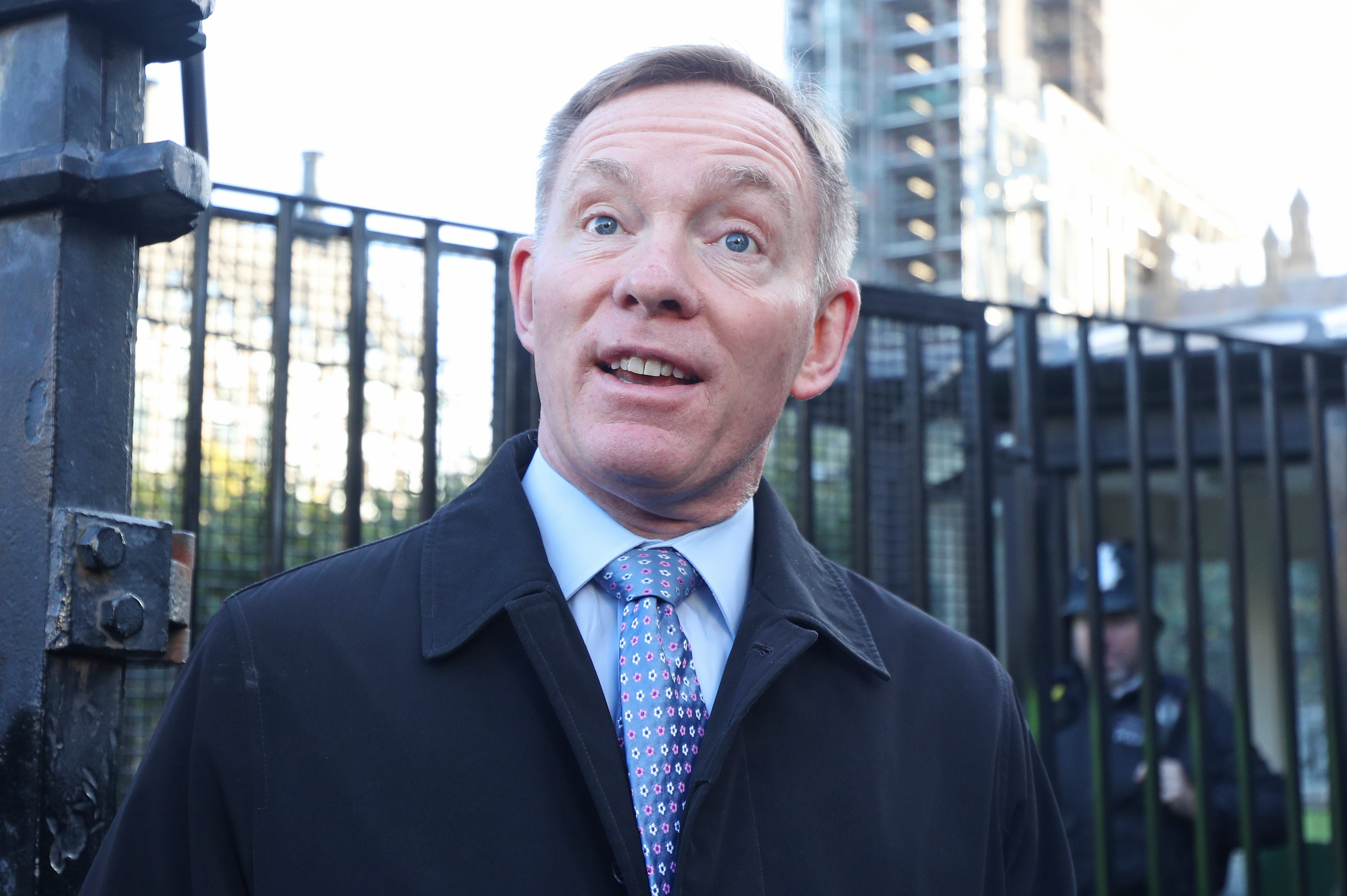 """Labour MP Chris Bryant outside the Houses of Parliament in London ahead of Prime Minister Boris Johnson delivering a statement in the House of Commons on his new Brexit deal after the EU Council summit, on what has been dubbed """"Super Saturday"""". (Photo by Yui Mok/PA Images via Getty Images)"""