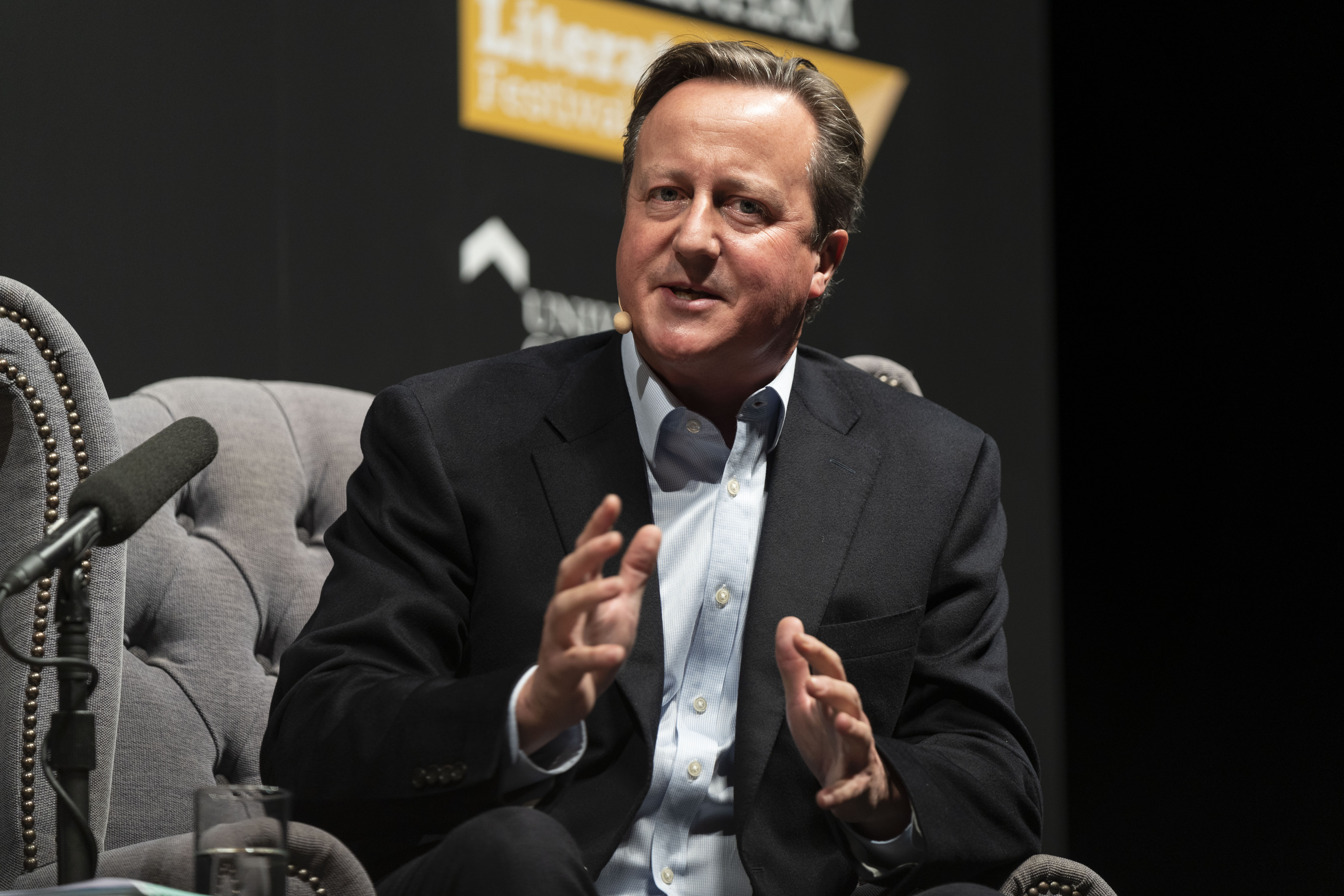 CHELTENHAM, ENGLAND - OCTOBER 5: David Cameron, former UK Prime Minister, discusses his new memoir, 'For the Record' at the Cheltenham Literature Festival 2019 on October 5, 2019 in Cheltenham, England. (Photo by David Levenson/Getty Images)