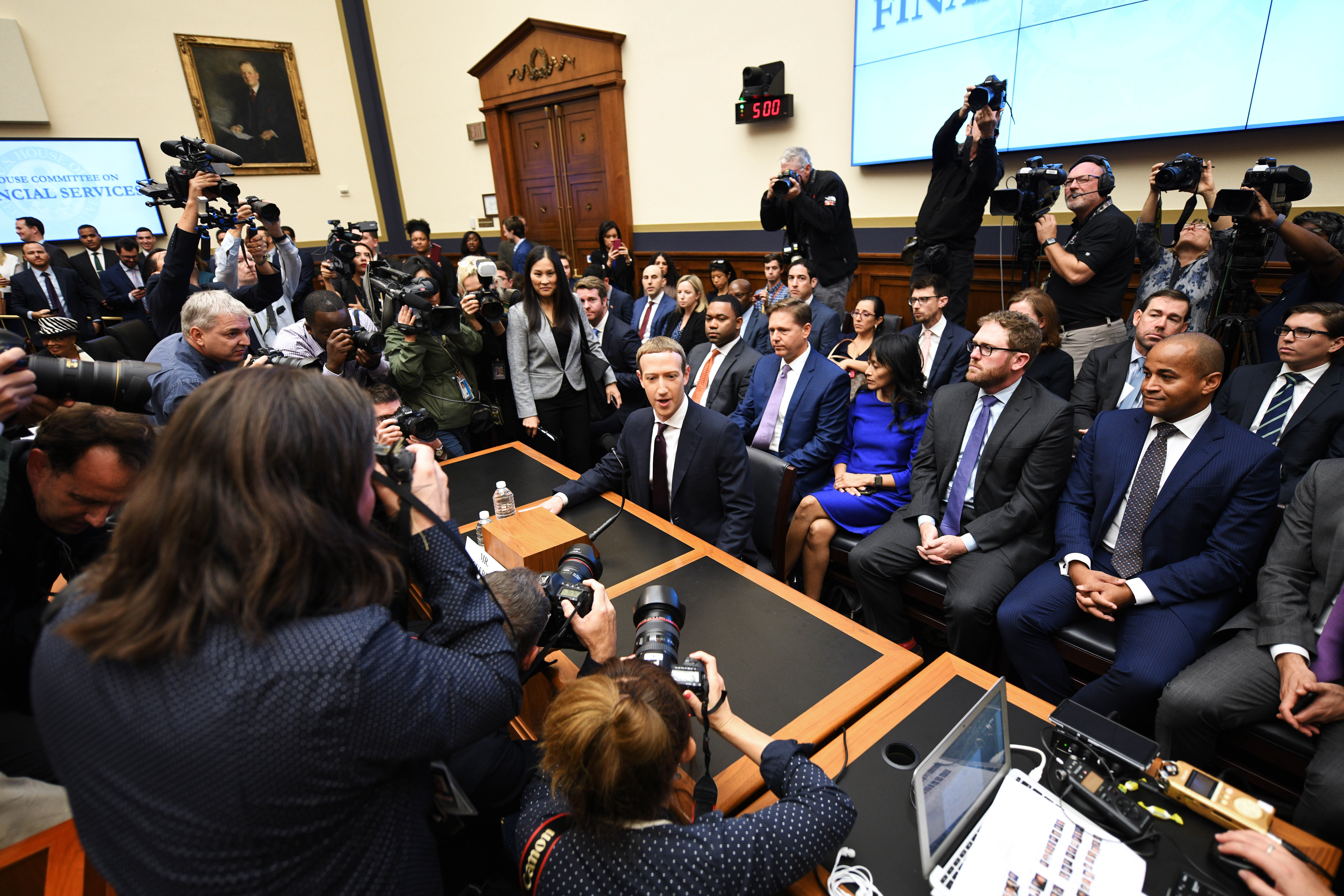 WASHINGTON, Oct. 23, 2019 -- Facebook CEO Mark Zuckerberg C testifies before the U.S. House Financial Services Committee during An Examination of Facebook and Its Impact on the Financial Services and Housing Sectors hearing on Capitol Hill in Washington D.C., the United States, on Oct. 23, 2019. (Photo by Liu Jie/Xinhua via Getty) (Xinhua/Liu Jie via Getty Images)