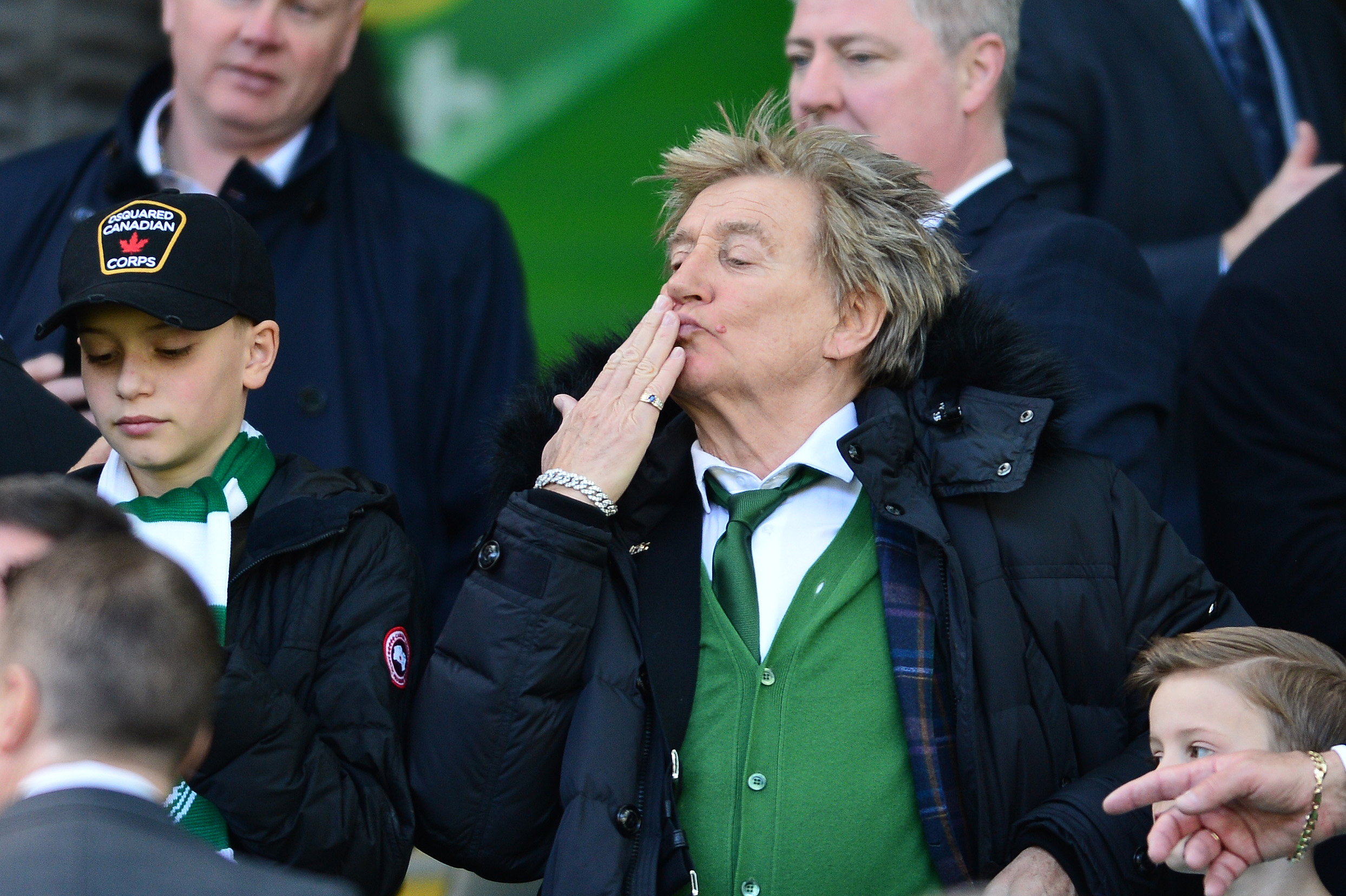GLASGOW, SCOTLAND - MARCH 31: Celtic fan and musician Rod Stewart blows a kiss to fans during the Ladbrokes Scottish Premiership match between Celtic and Rangers at Celtic Park on March 31, 2019 in Glasgow, Scotland. (Photo by Mark Runnacles/Getty Images)