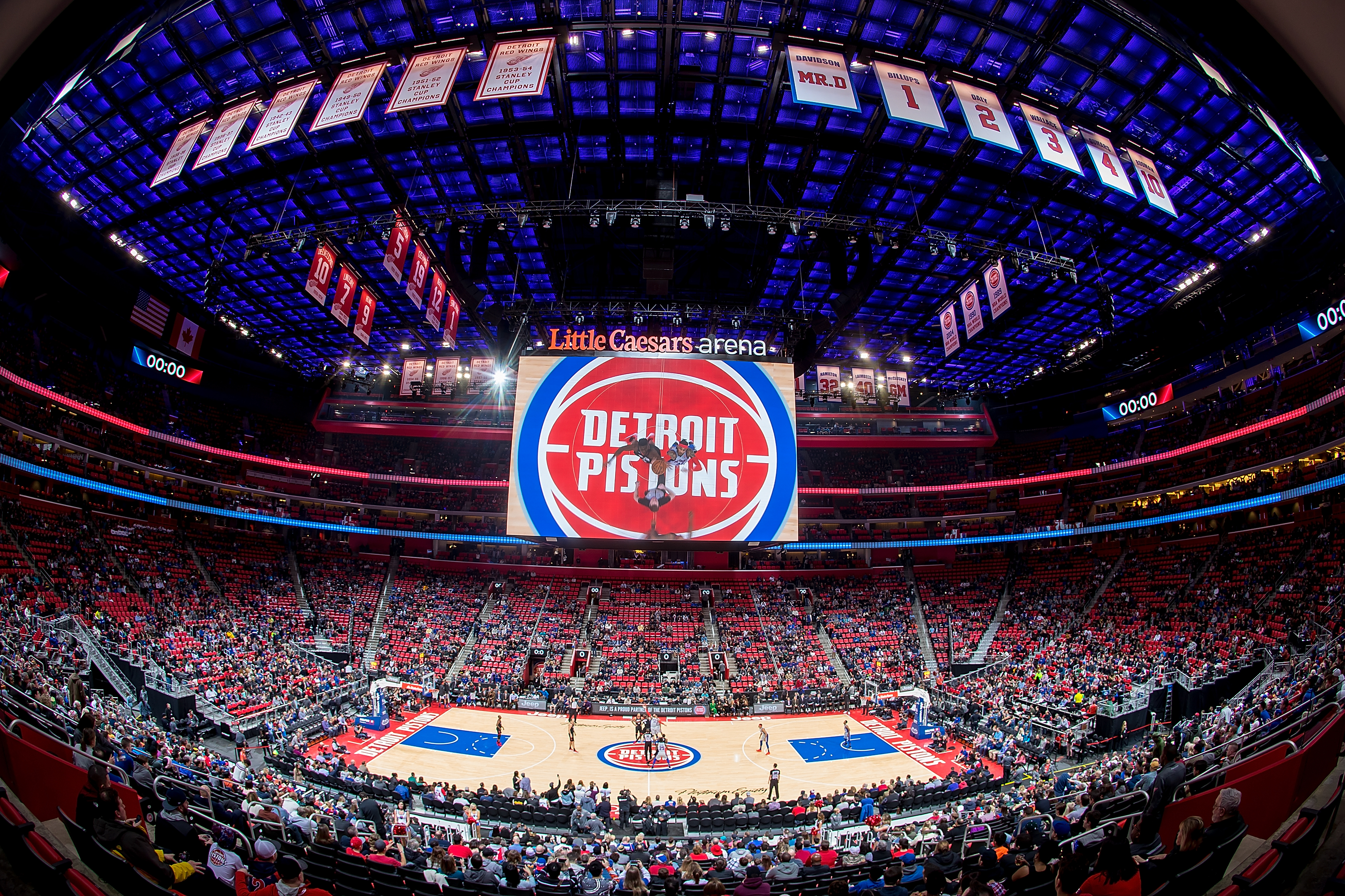 DETROIT, MI - JANUARY 06: A general view of the start of the NBA game between the Detroit Pistons and the Houston Rockets at Little Caesars Arena on January 6, 2018 in Detroit, Michigan. NOTE TO USER: User expressly acknowledges and agrees that, by downloading and or using this photograph, User is consenting to the terms and conditions of the Getty Images License Agreement. (Photo by Dave Reginek/Getty Images)