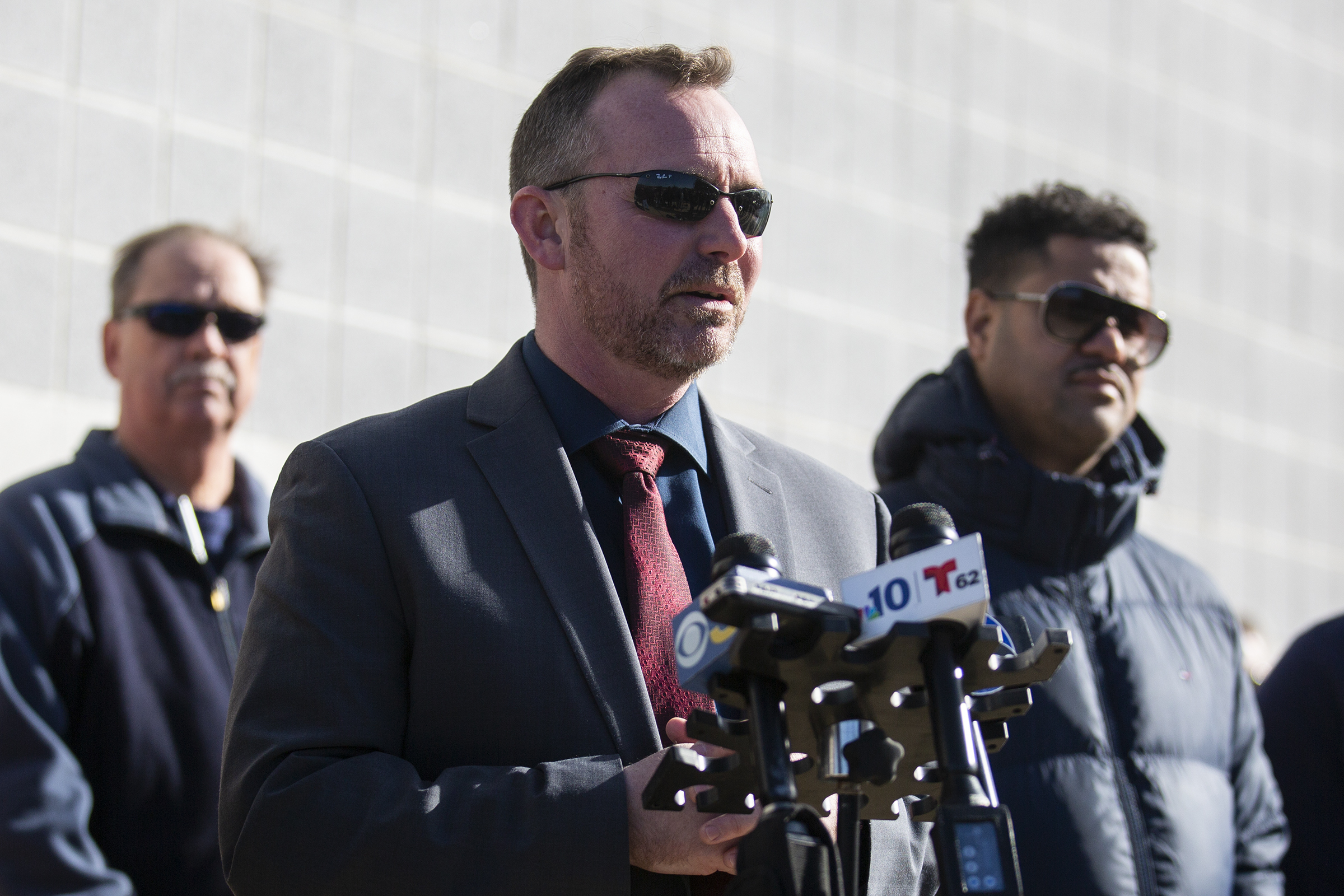 Sean Riggin, chief of Police in Pleasantville, N.J., speaks with media Saturday, Nov. 16, 2019 at Pleasantville High School regarding the shooting at a football game between Camden High School and Pleasantville on Friday, November 15 in Pleasantville, NJ.  (Tyger Williams/The Philadelphia Inquirer via AP )