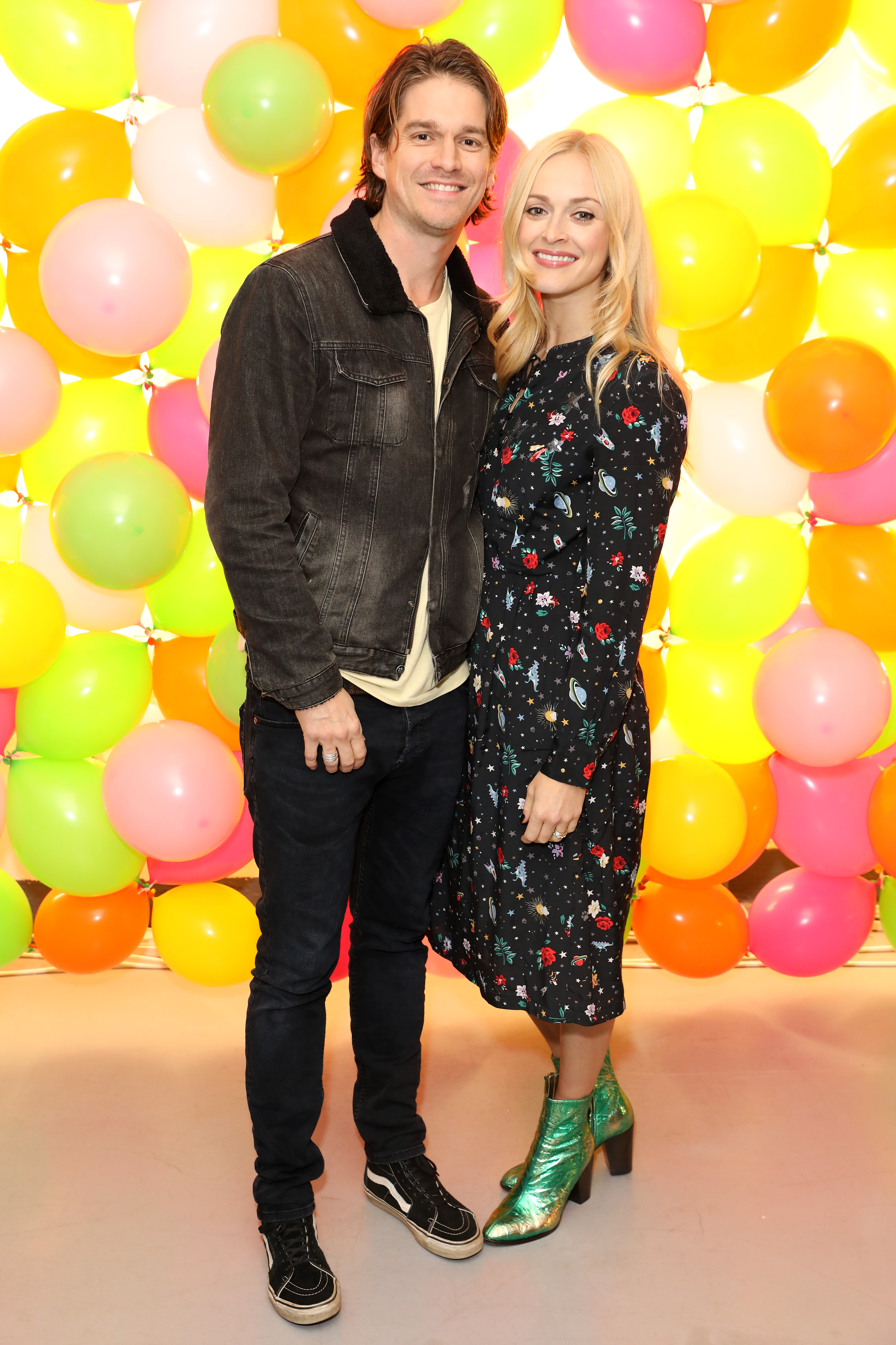 LONDON, ENGLAND - OCTOBER 25: Jesse Wood (L) and Fearne Cotton attend as Fearne Cotton celebrates her new collaboration with Cath Kidston at the Vinyl Factory on October 25, 2018 in London, England. (Photo by Darren Gerrish/WireImage)