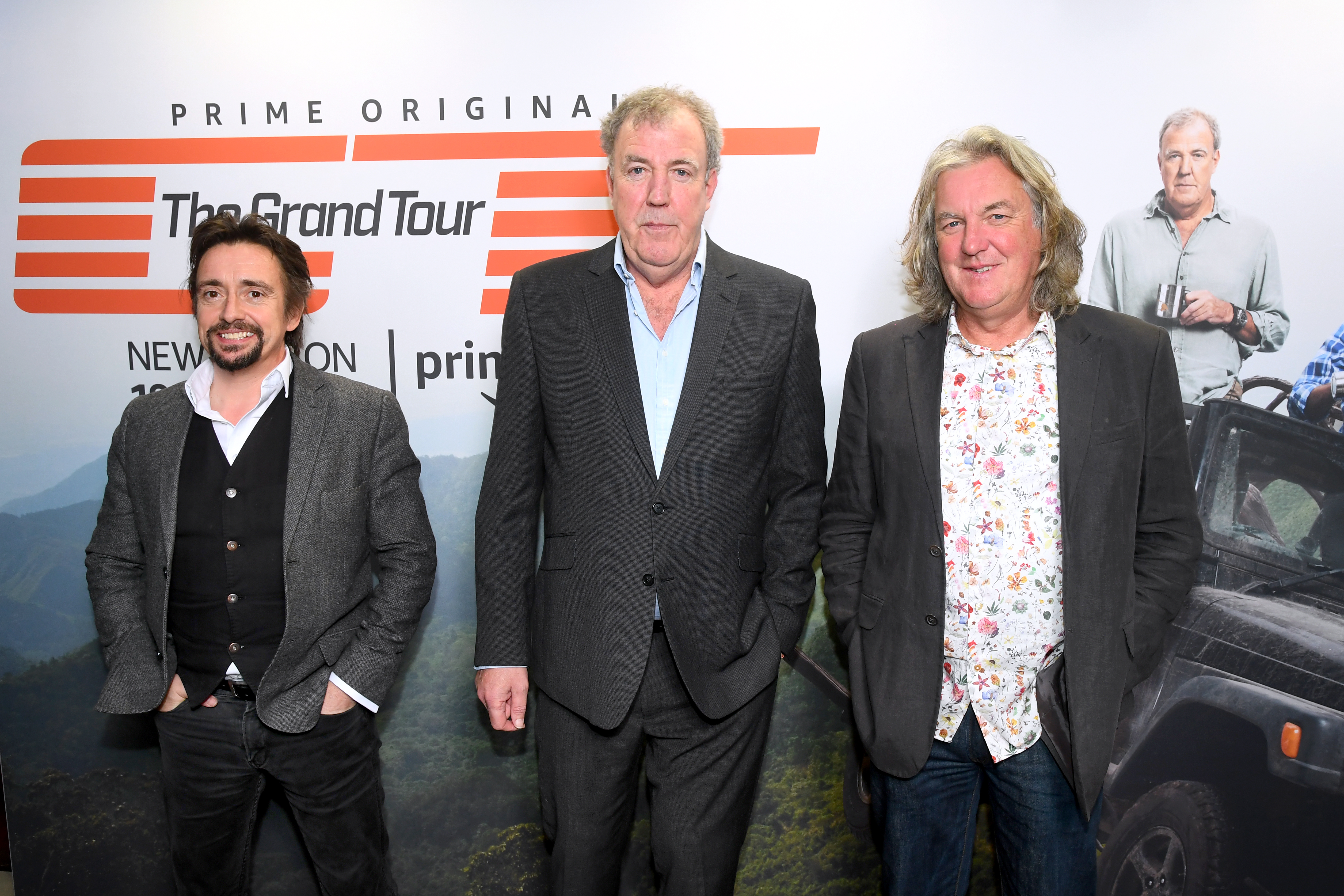 LONDON, ENGLAND - JANUARY 15: Richard Hammond, Jeremy Clarkson and James May attend a screening of 'The Grand Tour' season 3 held at The Brewery on January 15, 2019 in London, England. (Photo by Dave J Hogan/Getty Images)